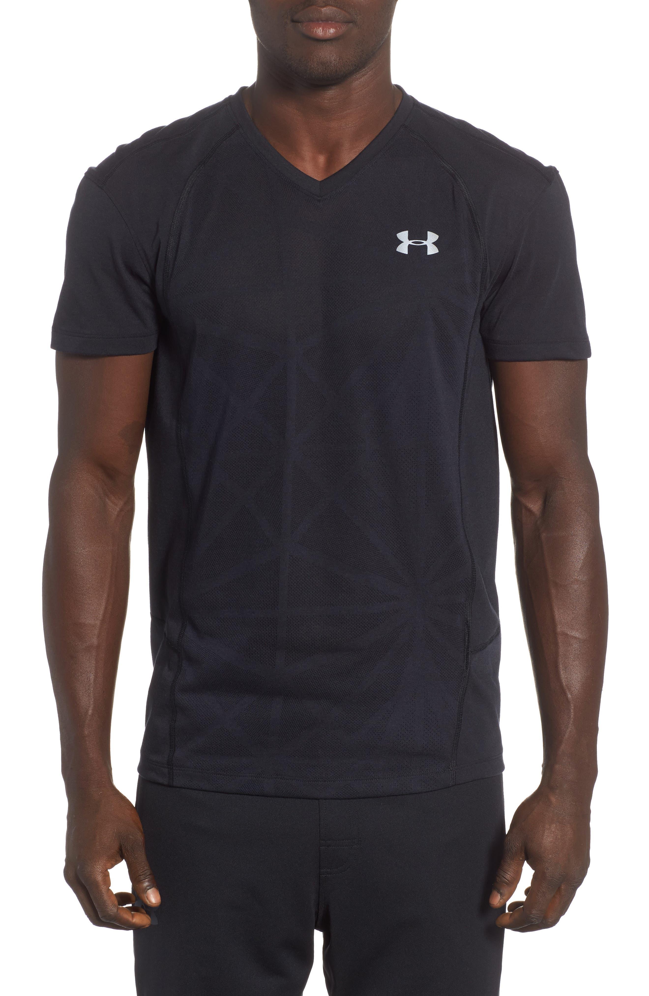 Microthread Swyft V-Neck T-Shirt,                             Main thumbnail 1, color,                             BLACK/ BLACK/ REFLECTIVE