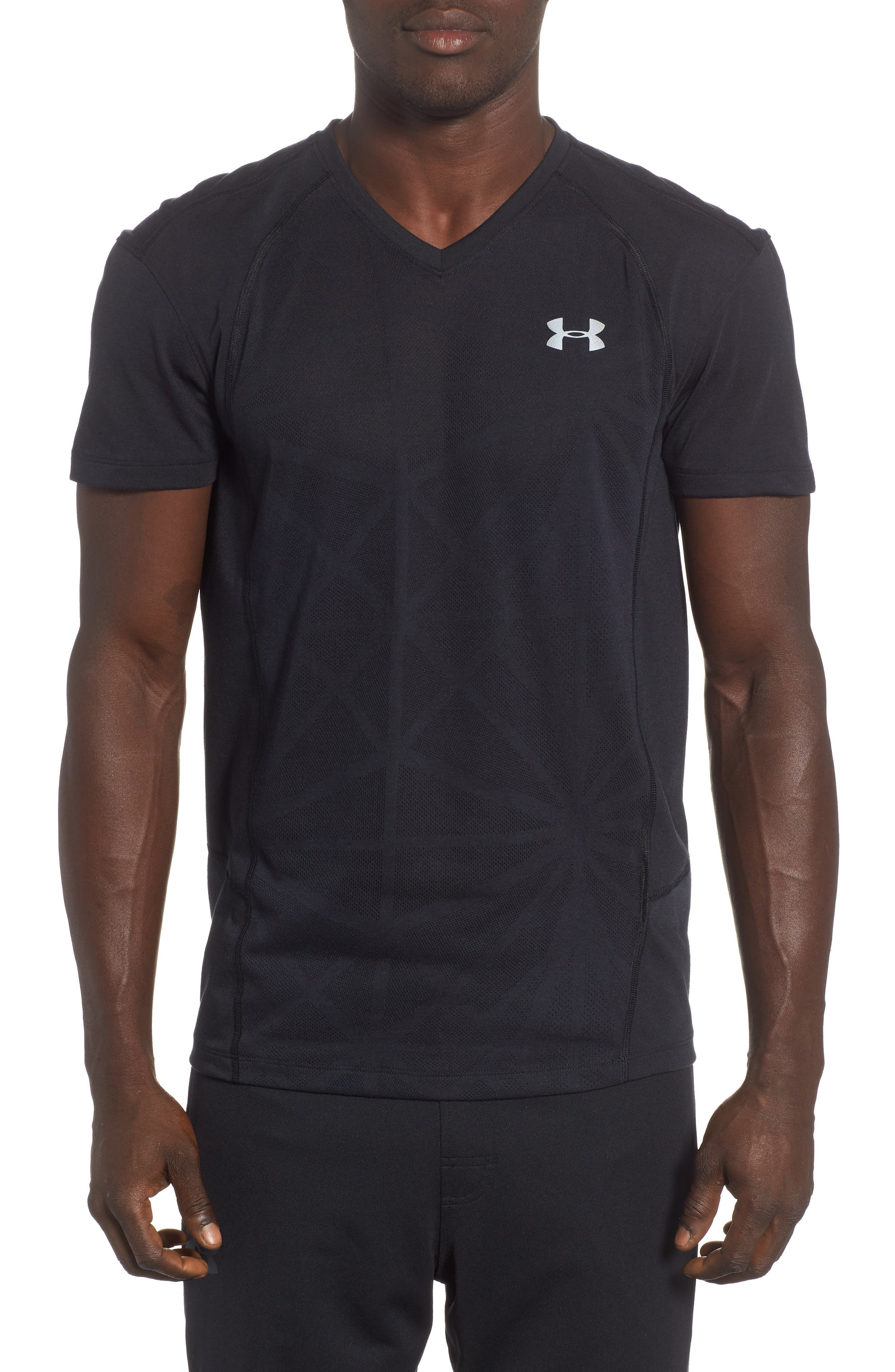 Microthread Swyft V-Neck T-Shirt,                         Main,                         color, BLACK/ BLACK/ REFLECTIVE