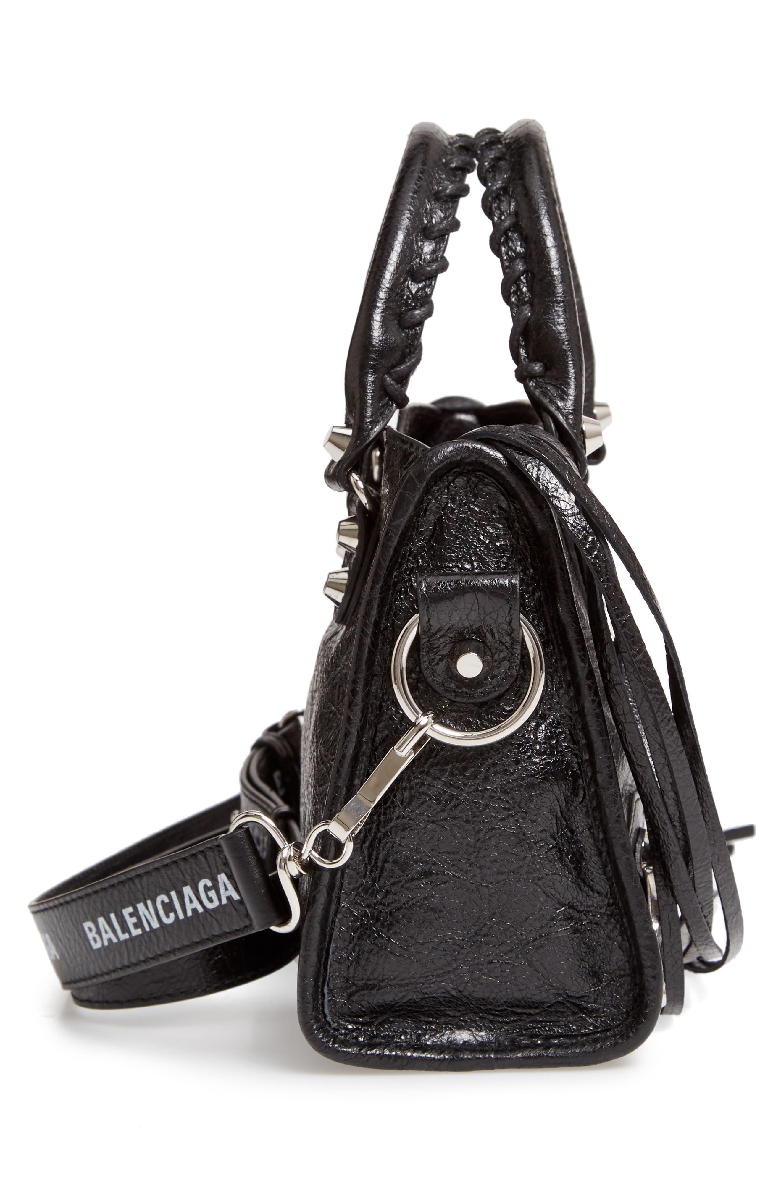 Mini Arena City Leather Satchel,                             Alternate thumbnail 5, color,                             BLACK/ WHITE