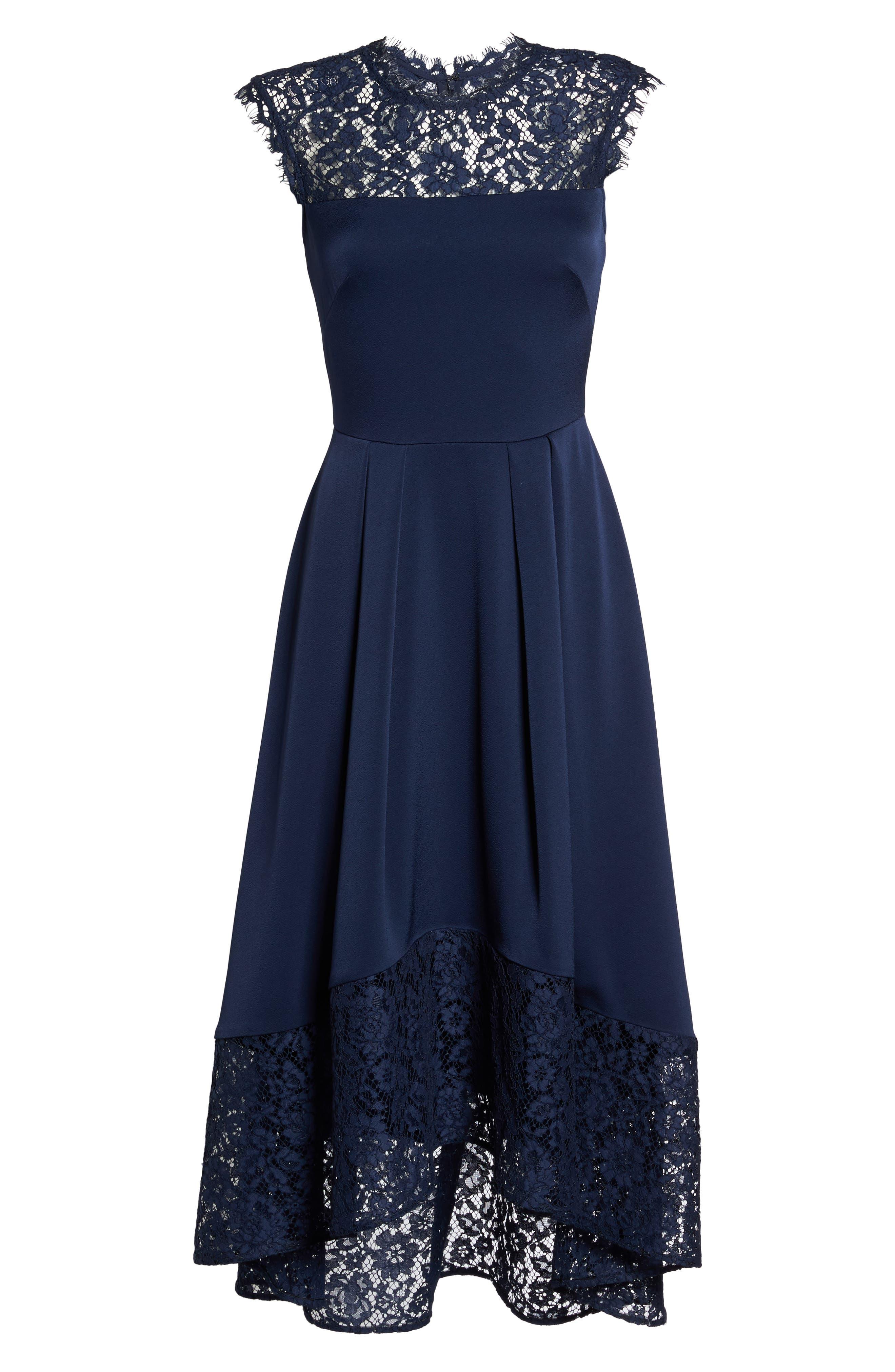 Allachie Lace & Crepe High/Low Midi Dress,                             Alternate thumbnail 6, color,                             414