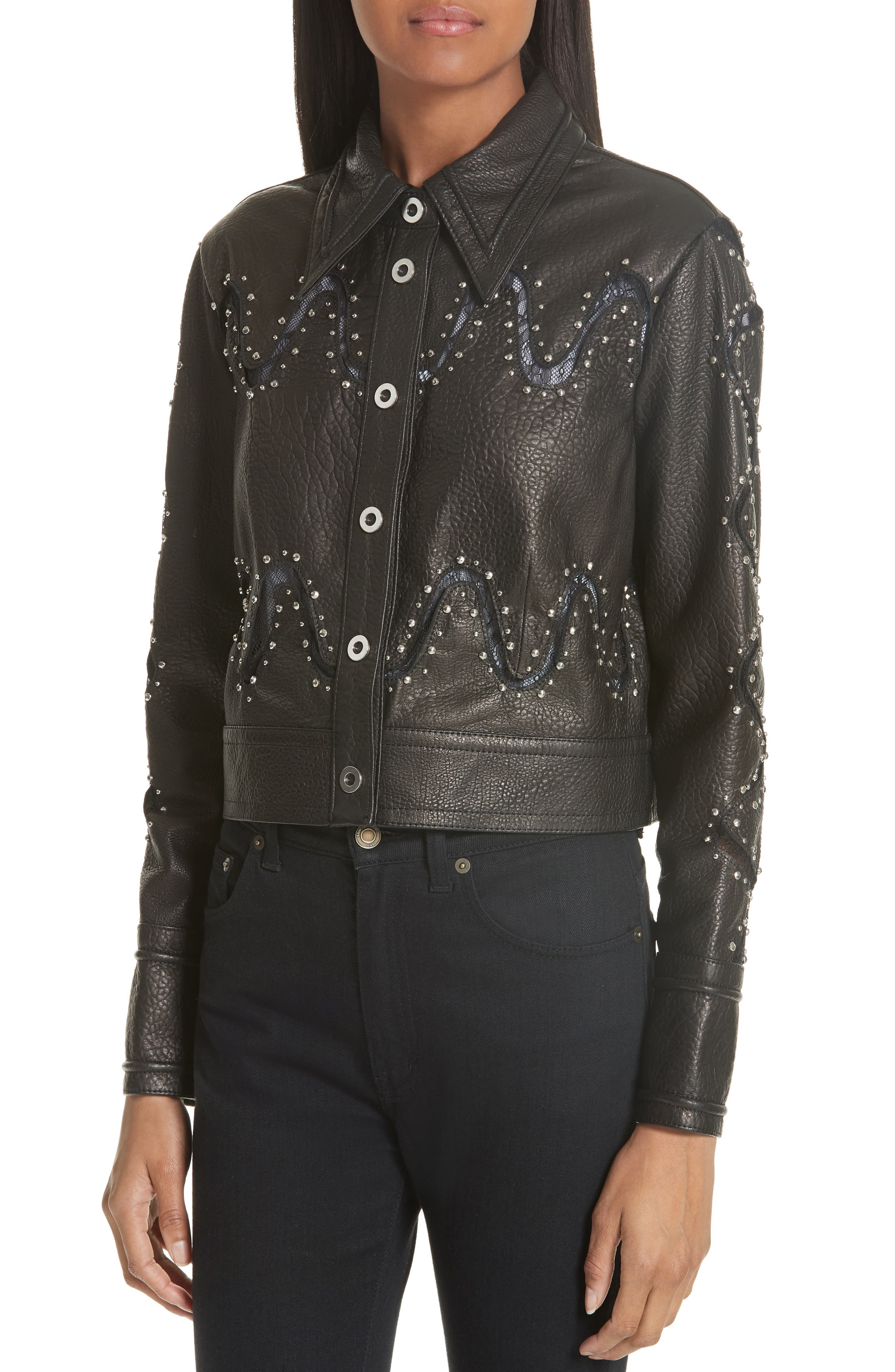 Studded Lace Inset Leather Jacket,                             Alternate thumbnail 4, color,                             010
