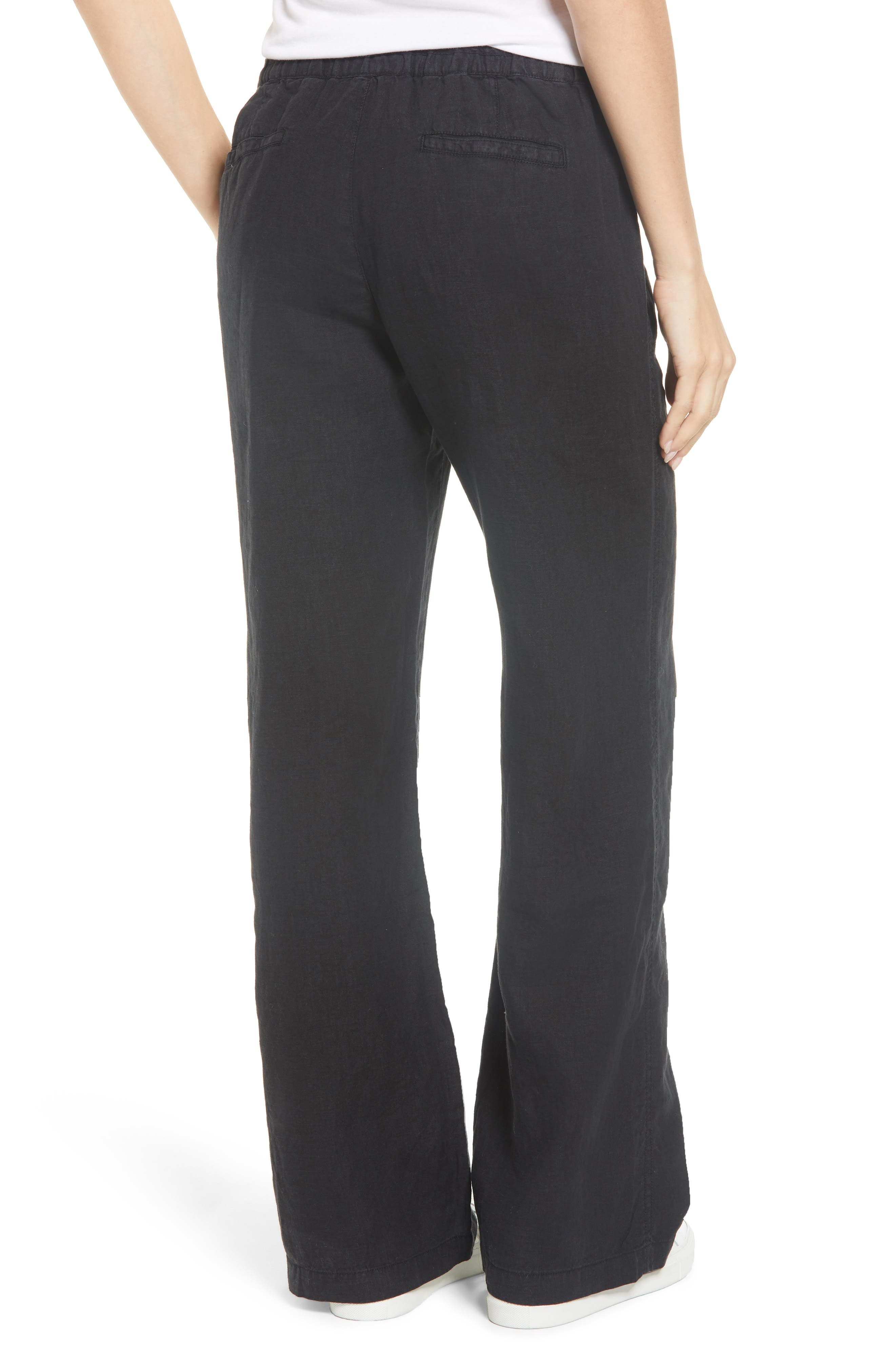 Linen Pants,                             Alternate thumbnail 2, color,                             BLACK