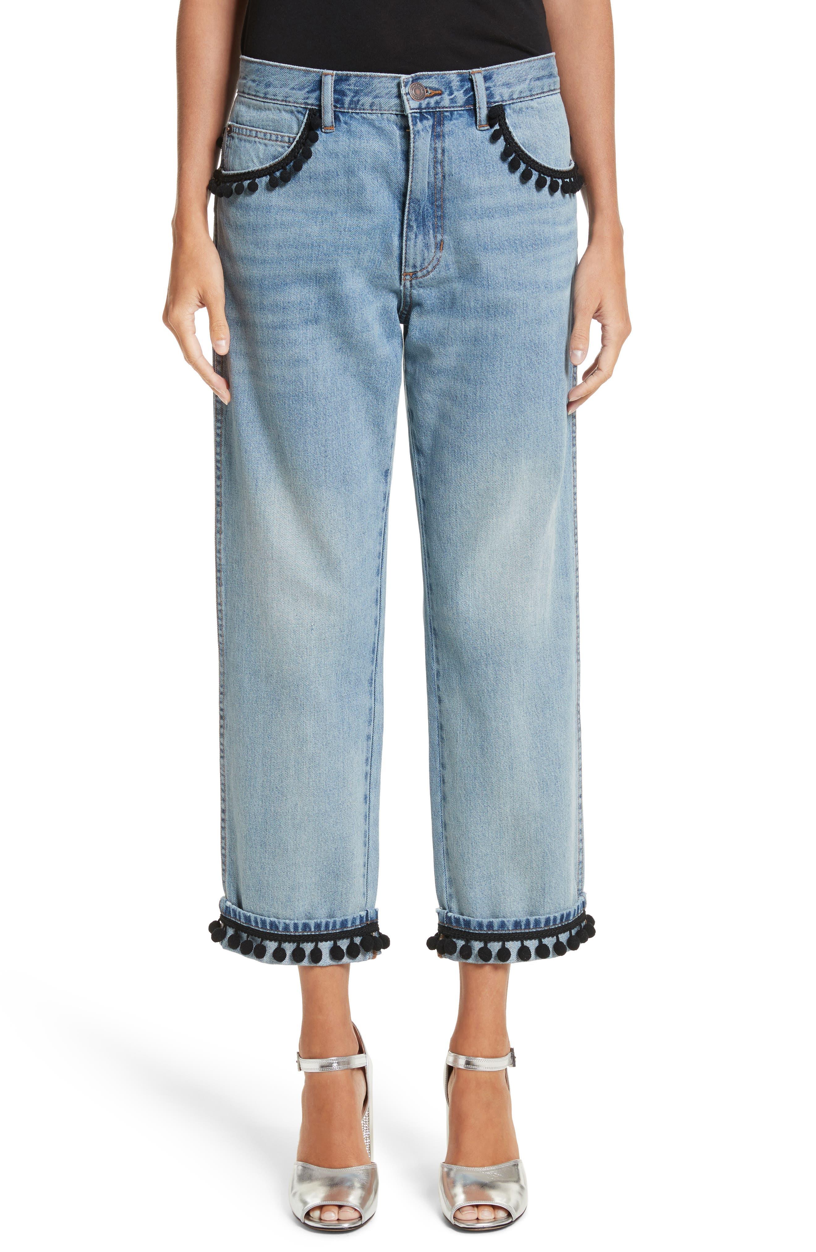 Pom Trim Crop Jeans,                             Main thumbnail 1, color,                             489