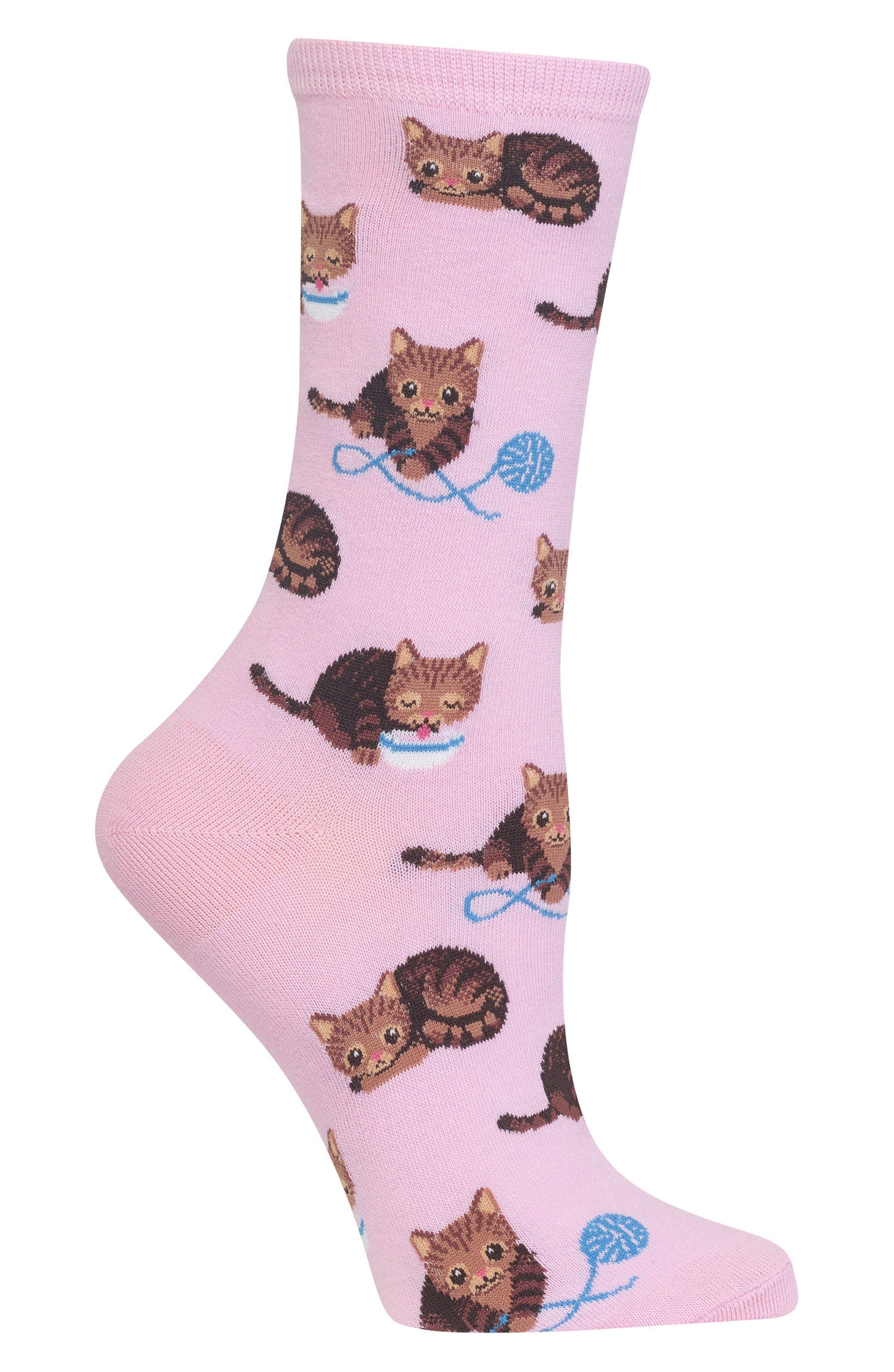 Cat & Yarn Crew Socks,                             Alternate thumbnail 4, color,
