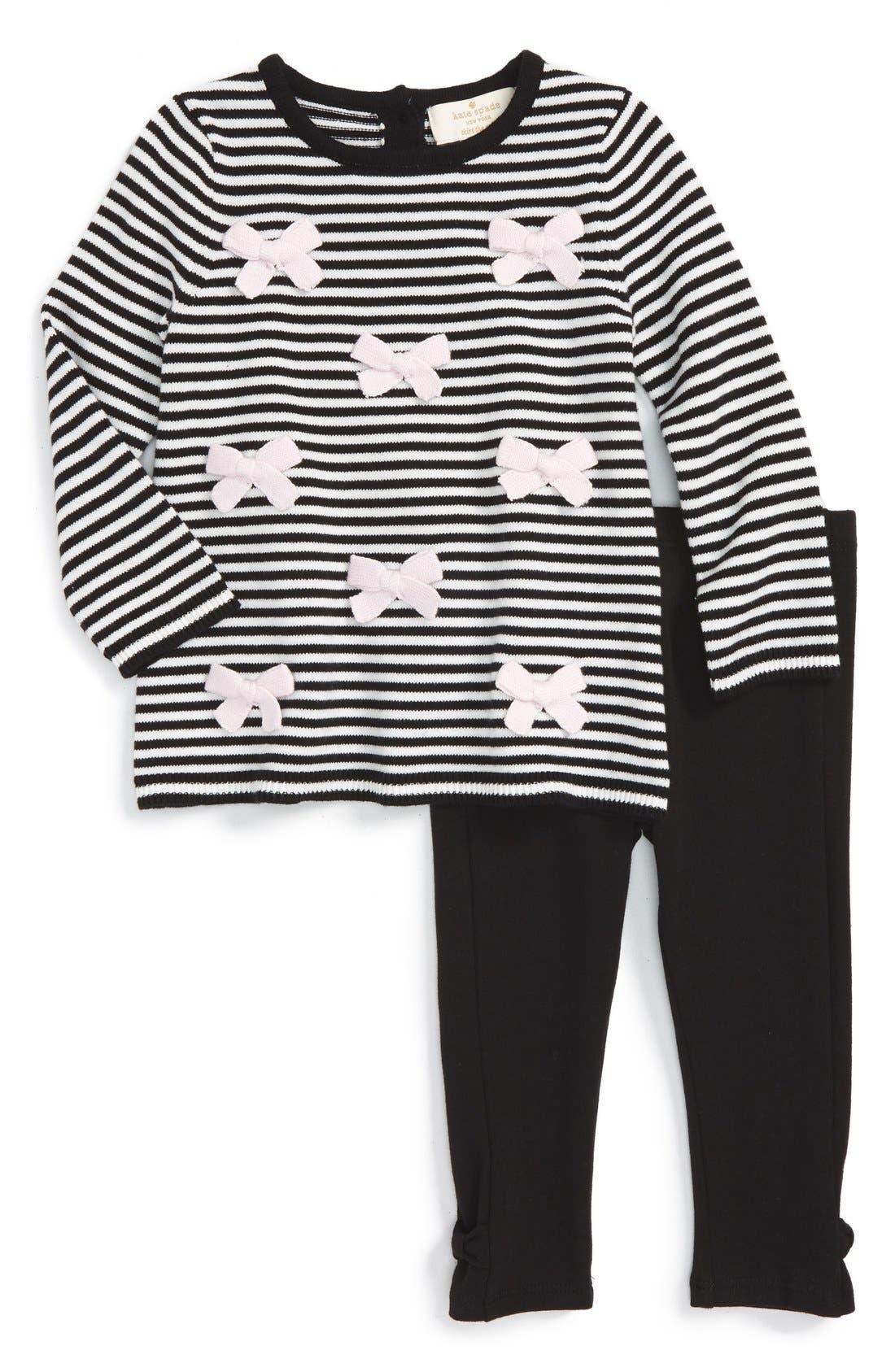 'greta' stripe sweater & leggings set, Main, color, 001