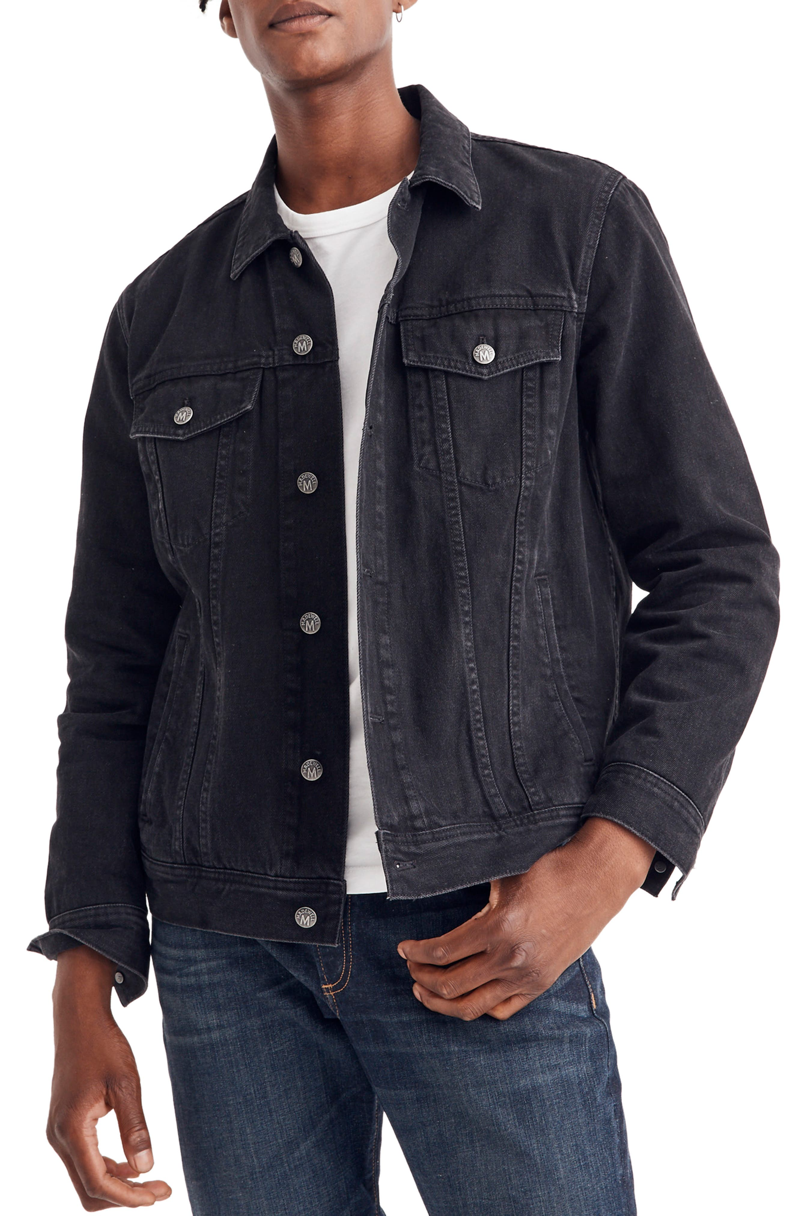 Classic Denim Jacket,                         Main,                         color, BLACK