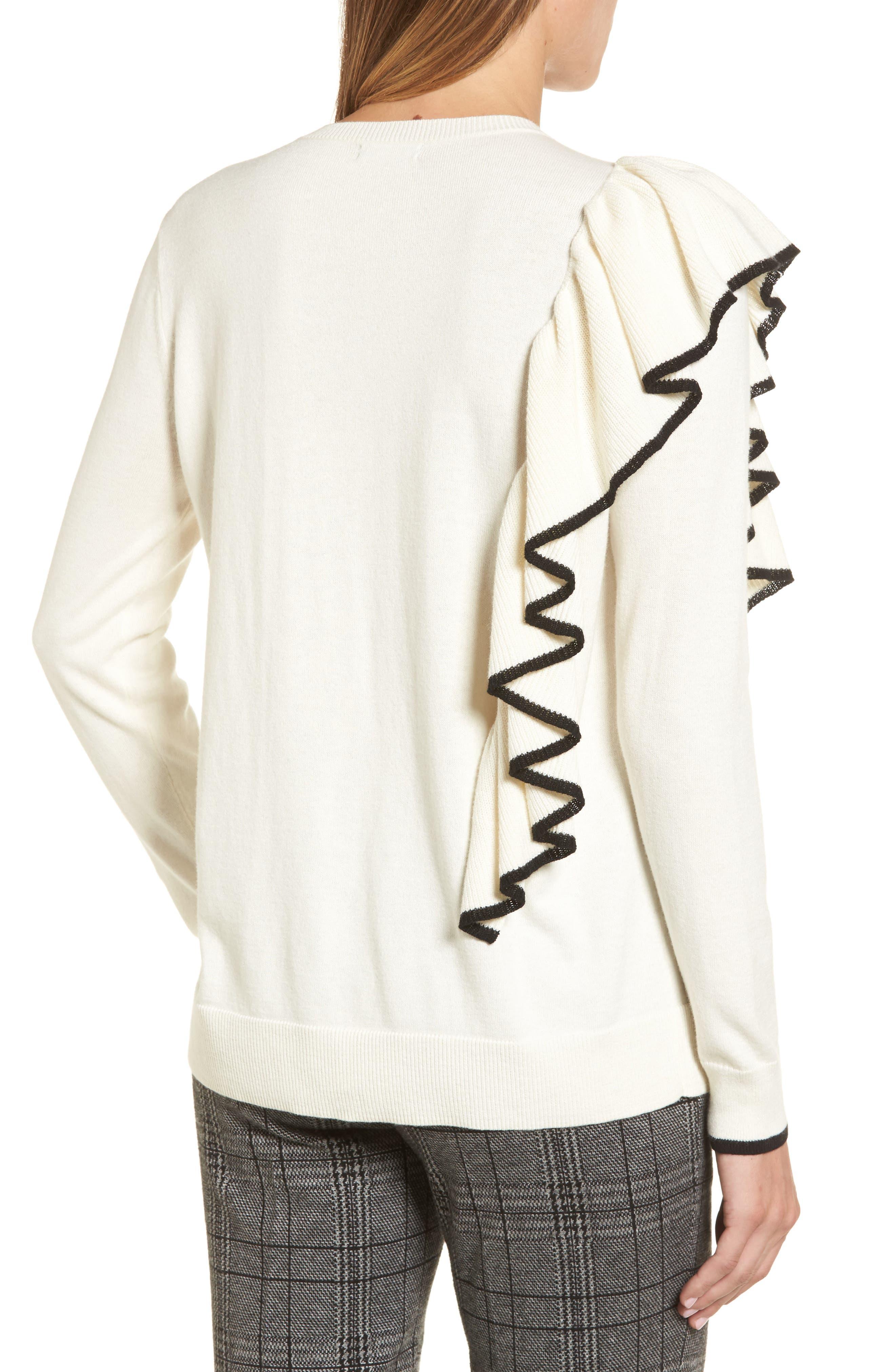 Asymmetrical Ruffle Sweater,                             Alternate thumbnail 6, color,