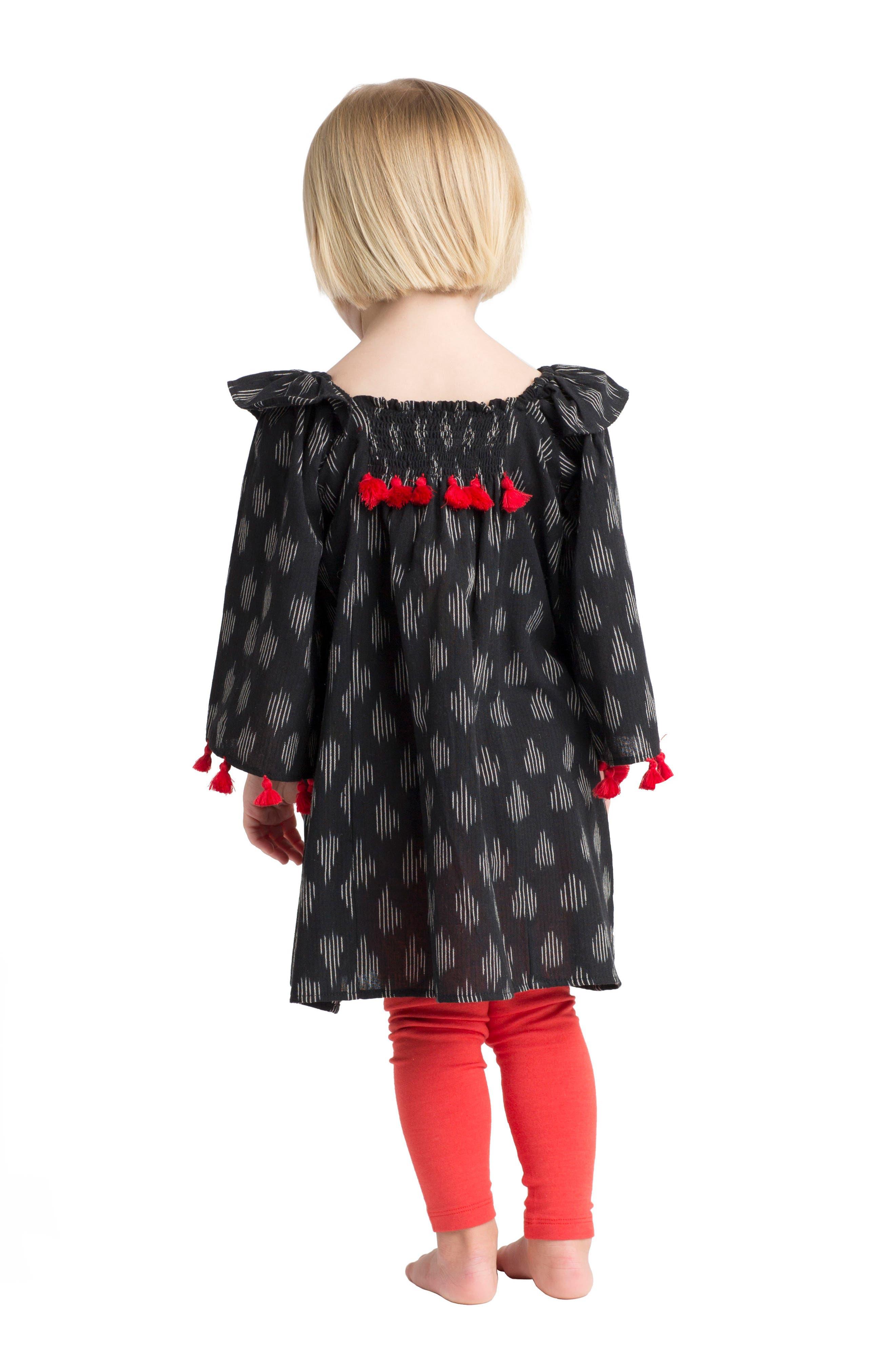 Ekta Tassel Trim Dress,                             Alternate thumbnail 4, color,                             001