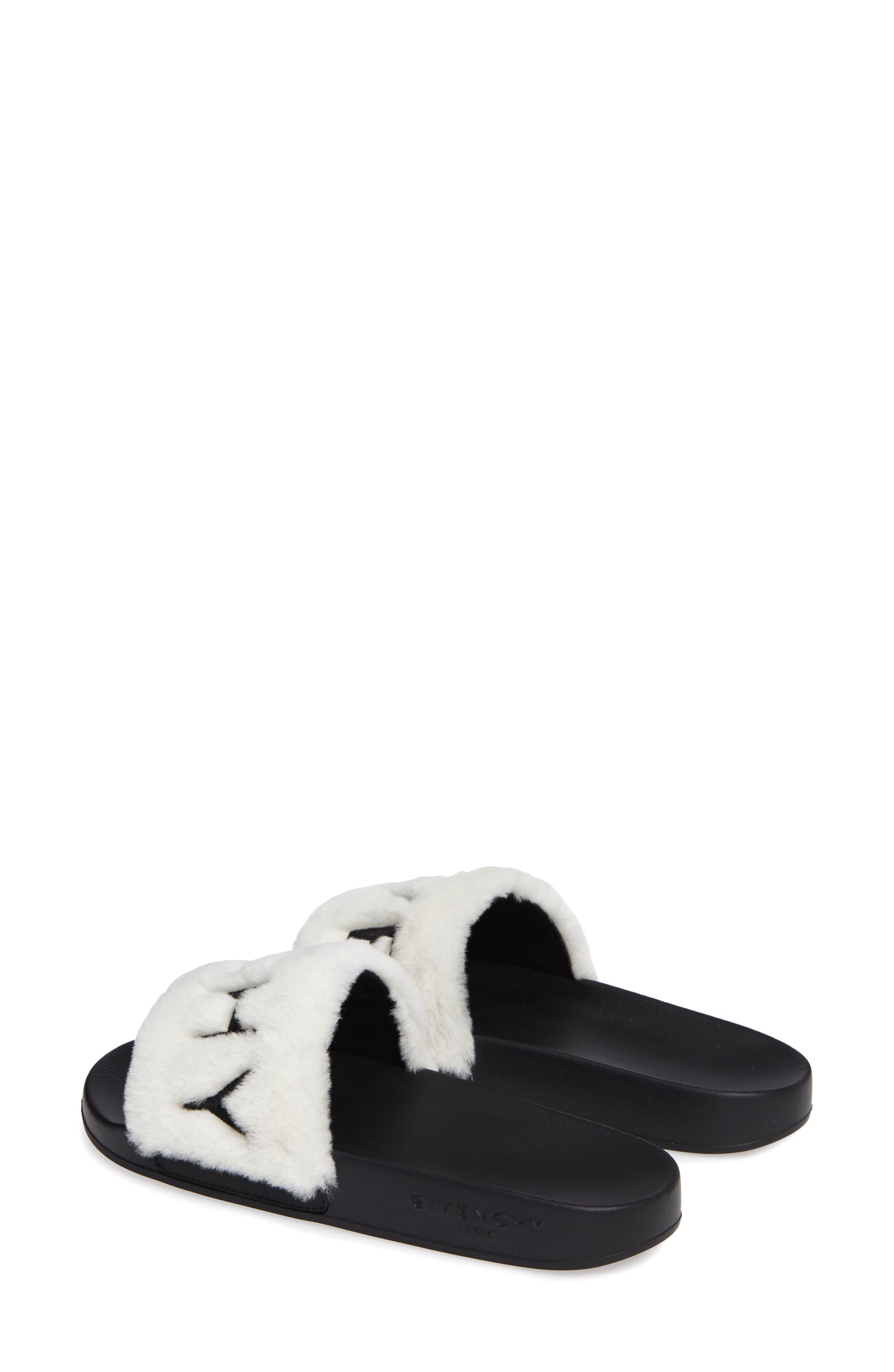 Logo Genuine Shearling Slide Sandal,                             Alternate thumbnail 3, color,                             WHITE/ BLACK