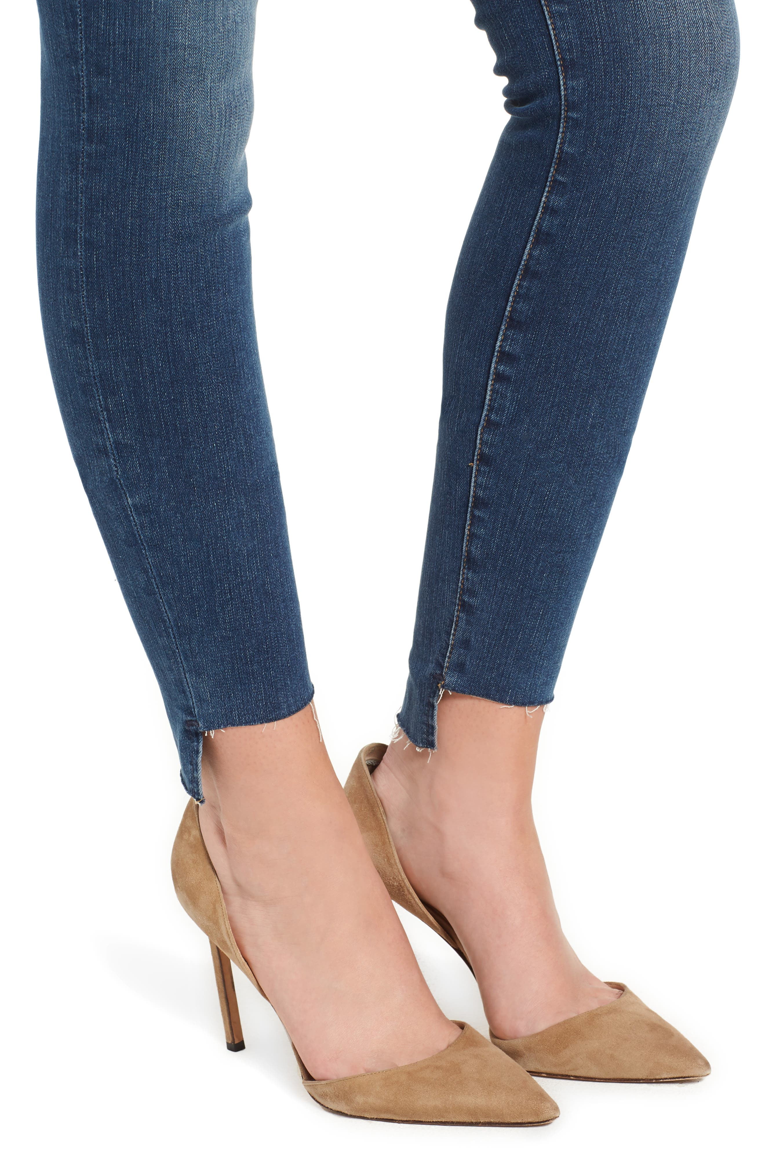 Le Skinny de Jeanne Raw Step Hem Skinny Jeans,                             Alternate thumbnail 4, color,                             WOODBINE