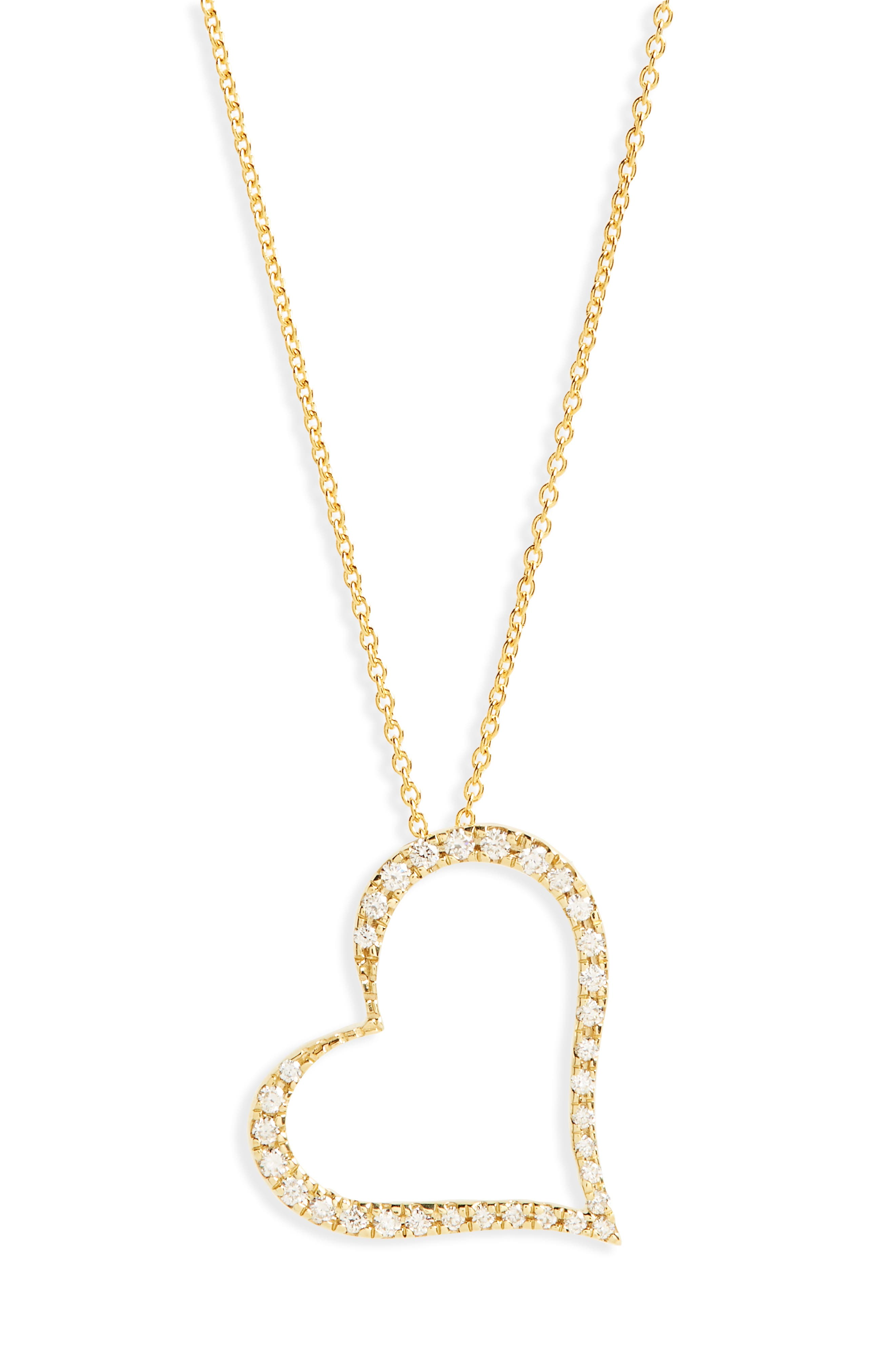 ROBERTO COIN,                             Slanted Diamond Heart Pendant Necklace,                             Main thumbnail 1, color,                             710