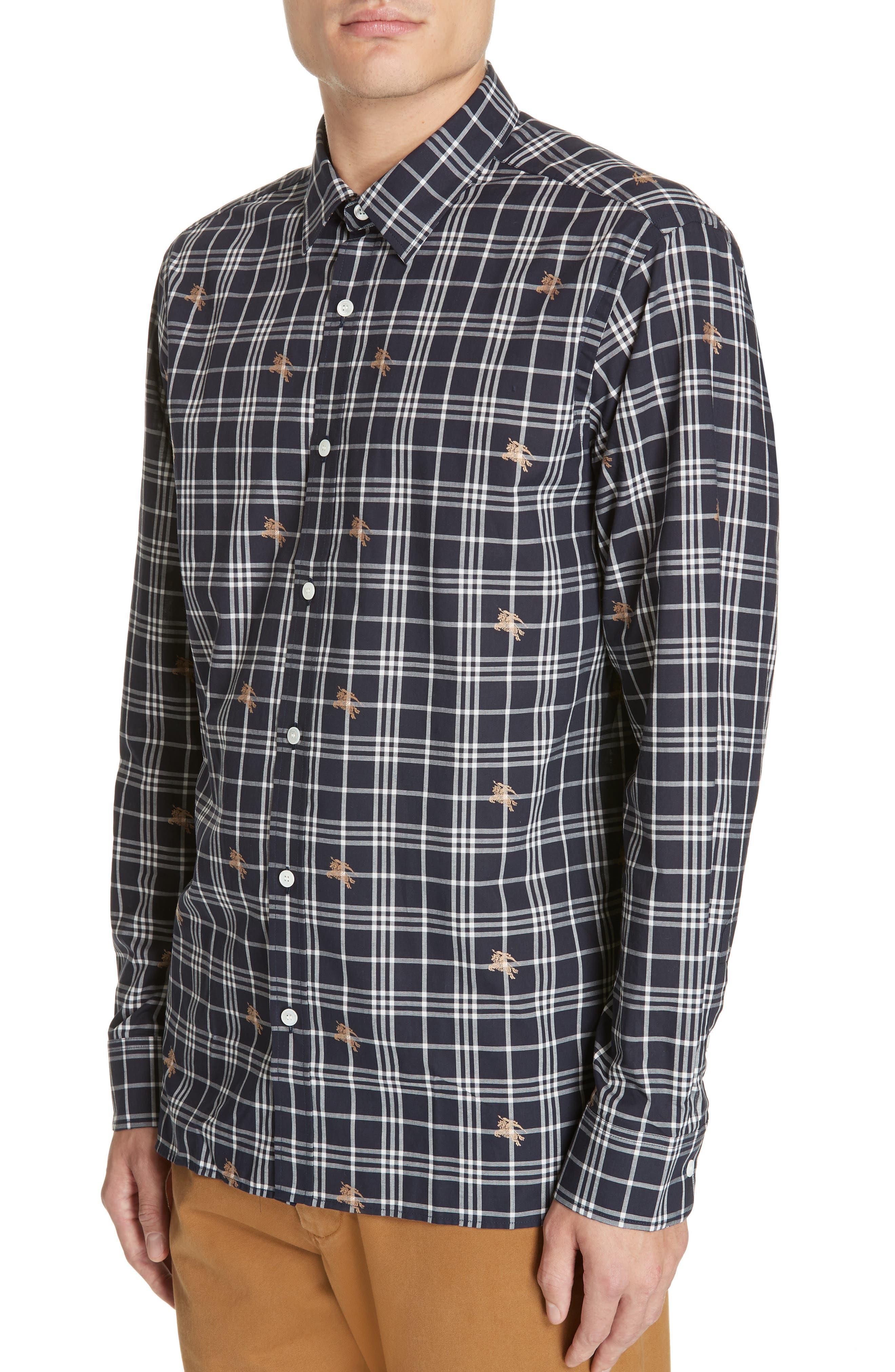 Edward Check Sport Shirt,                             Alternate thumbnail 2, color,                             NAVY