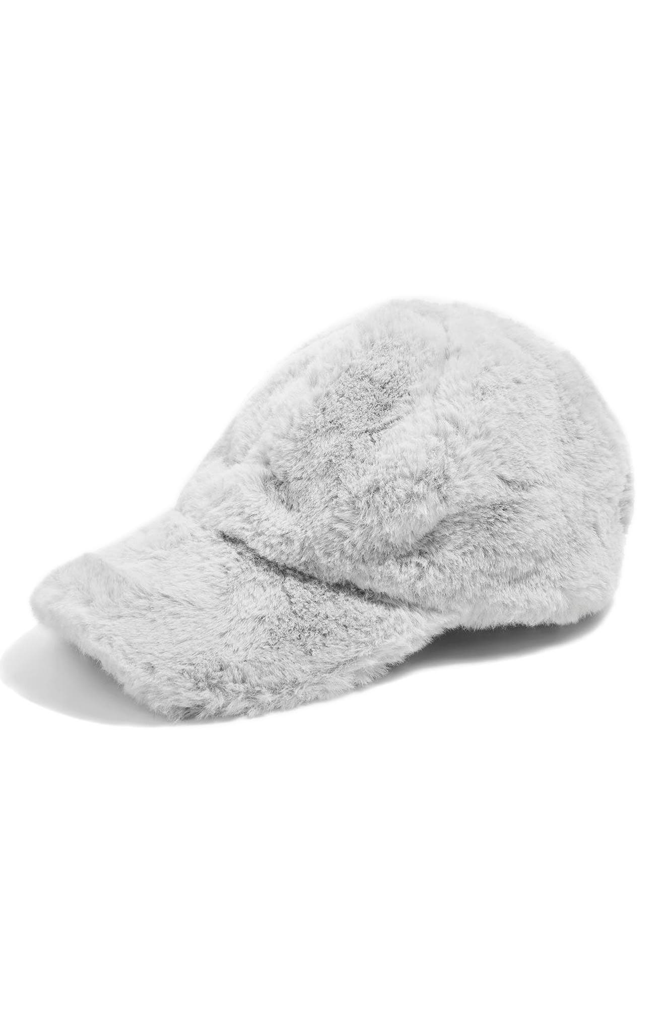 Faux Fur Baseball Cap,                             Main thumbnail 1, color,                             020