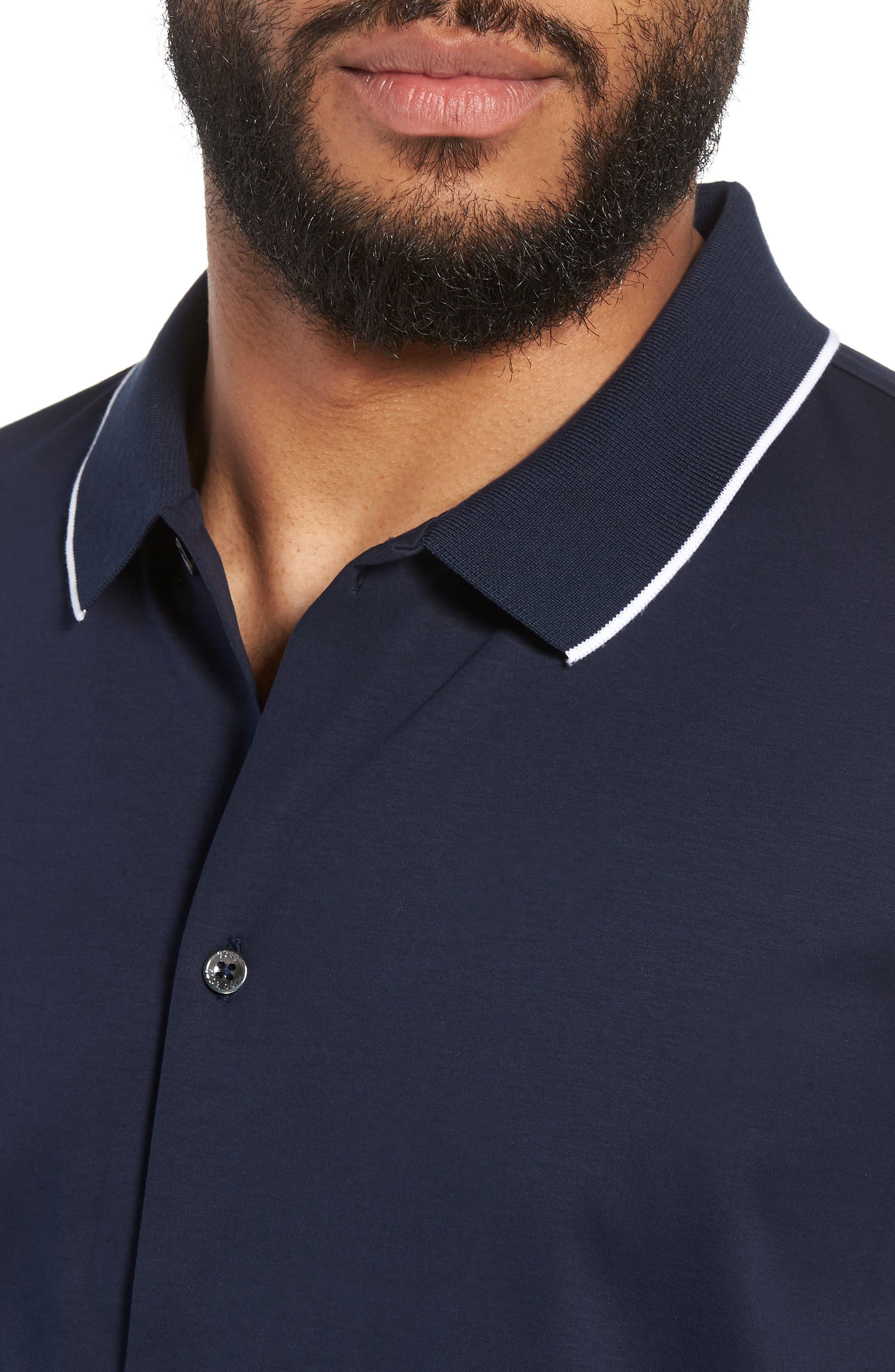 Puno Slim Fit Knit Short Sleeve Sport Shirt,                             Alternate thumbnail 4, color,                             410