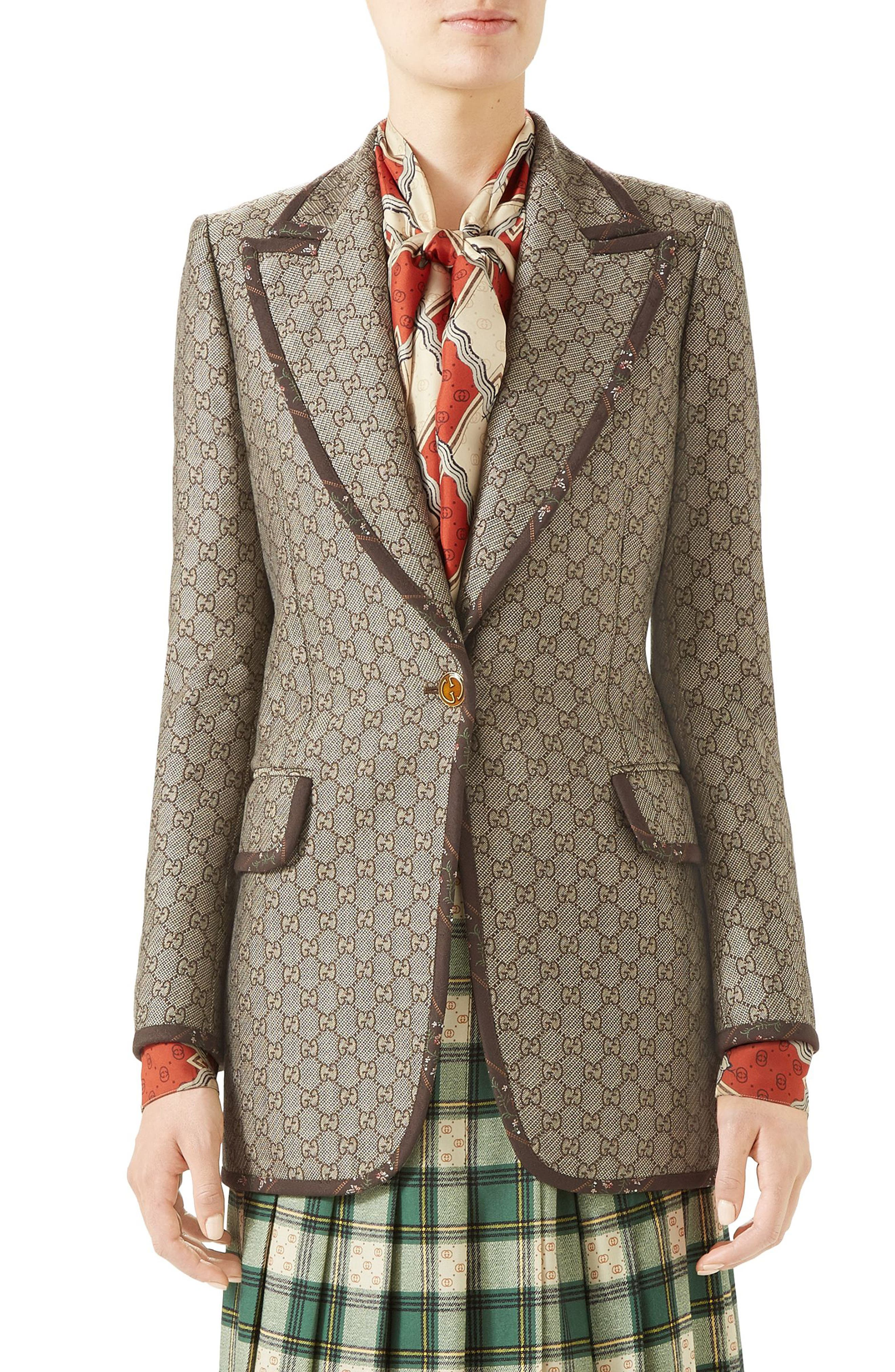 Gg Jacquard Wool-Canvas Jacket in 9287 Natural White/ Brown/