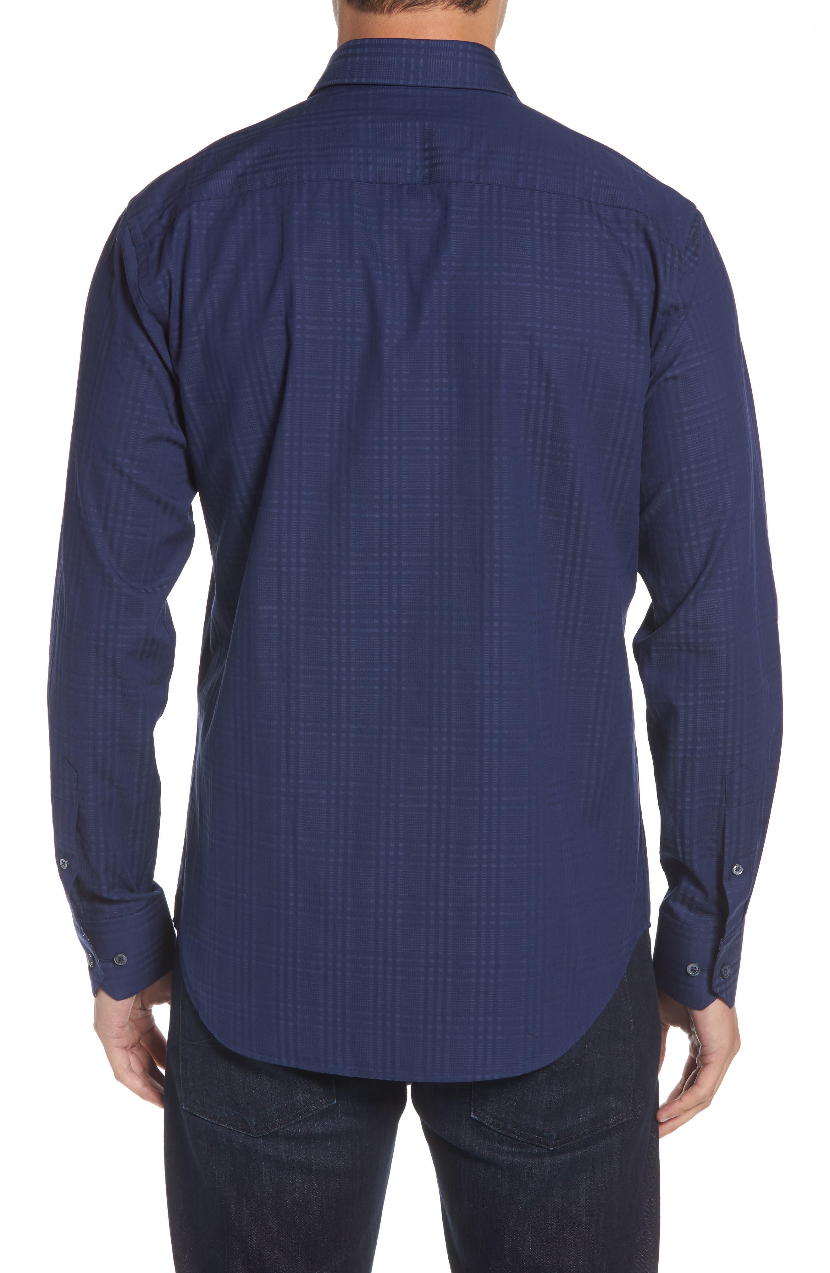 Shaped Fit Tonal Plaid Sport Shirt,                             Alternate thumbnail 2, color,                             MIDNIGHT
