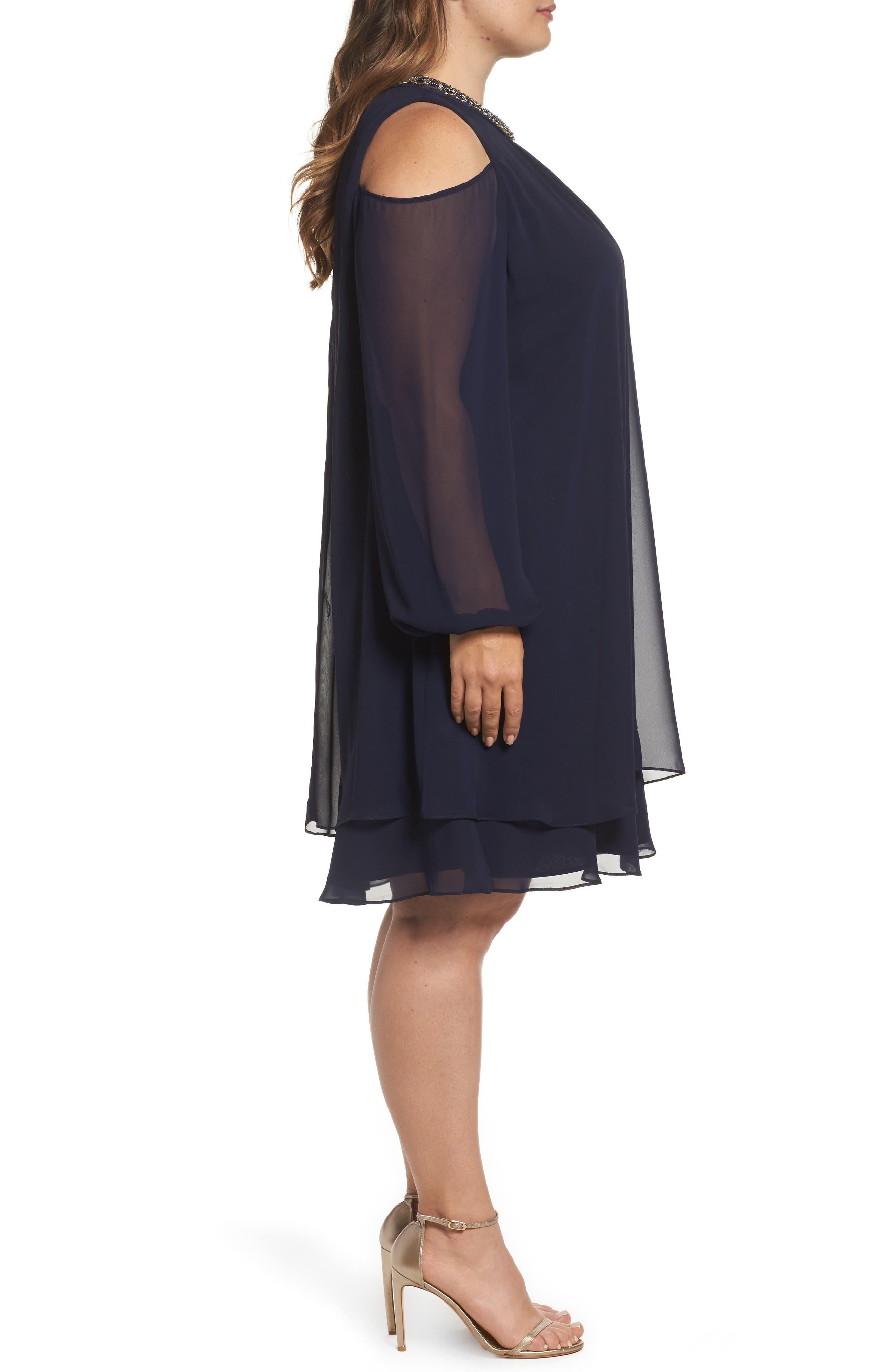 Embellished Cold Shoulder Shift Dress,                             Alternate thumbnail 3, color,                             NAVY/ GOLD