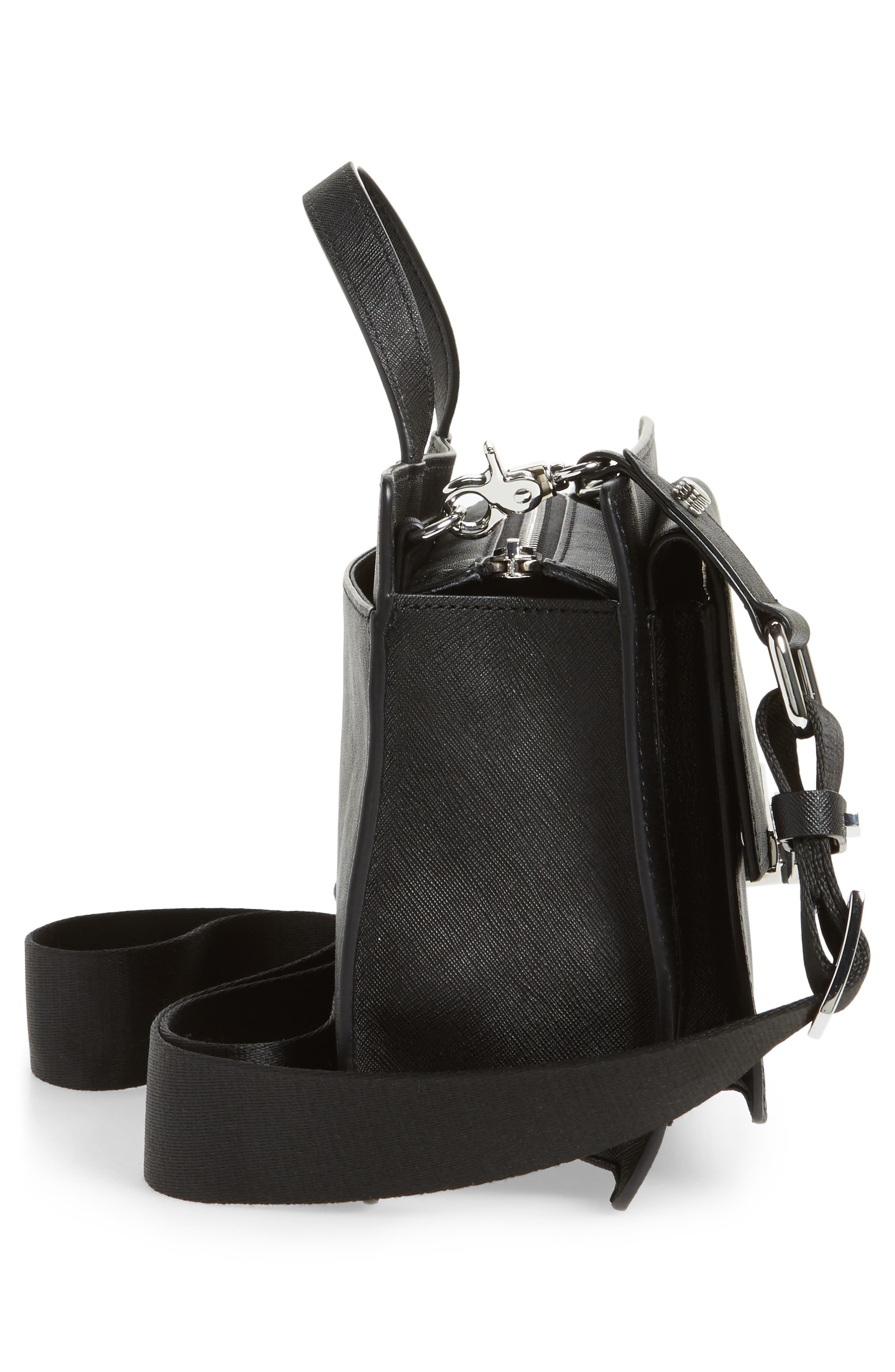 Jagger Leather Crossbody Bag,                             Alternate thumbnail 5, color,                             001