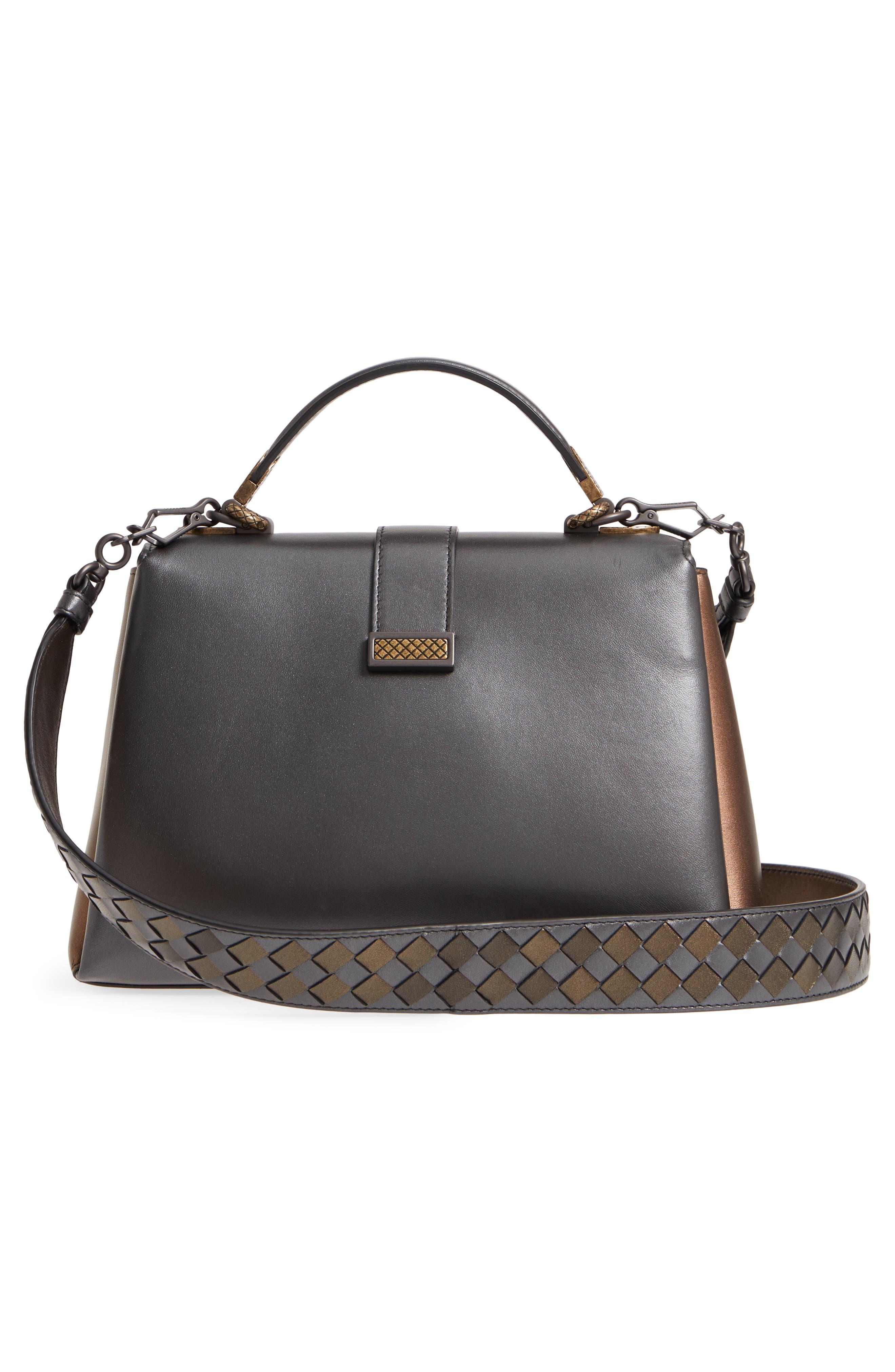 Small Piazza Tricolor Metallic Leather Handbag,                             Alternate thumbnail 3, color,                             DARK GOLD MULTI