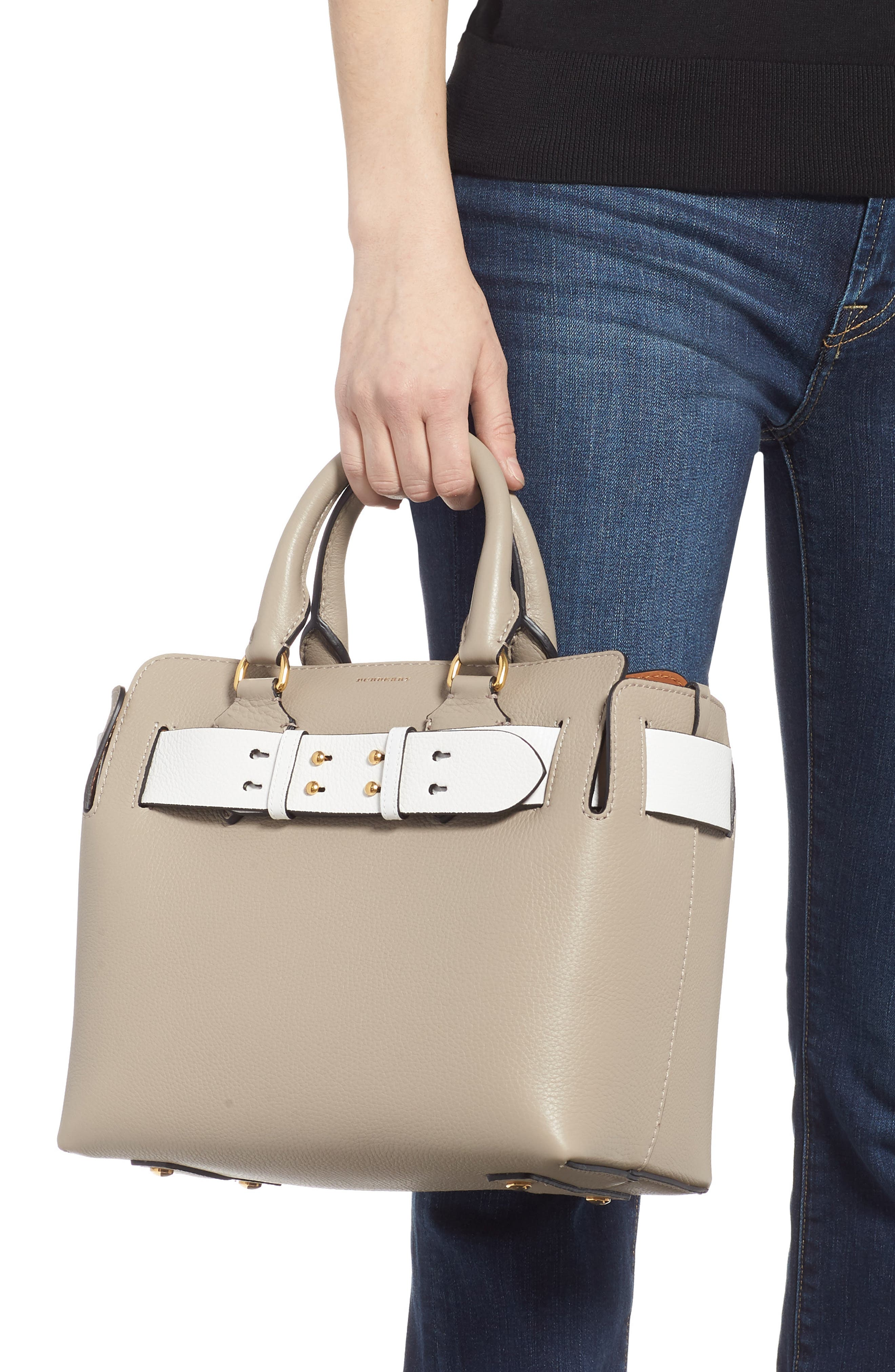 Small Contrast Belt Leather Tote,                             Alternate thumbnail 2, color,                             MINERAL GREY