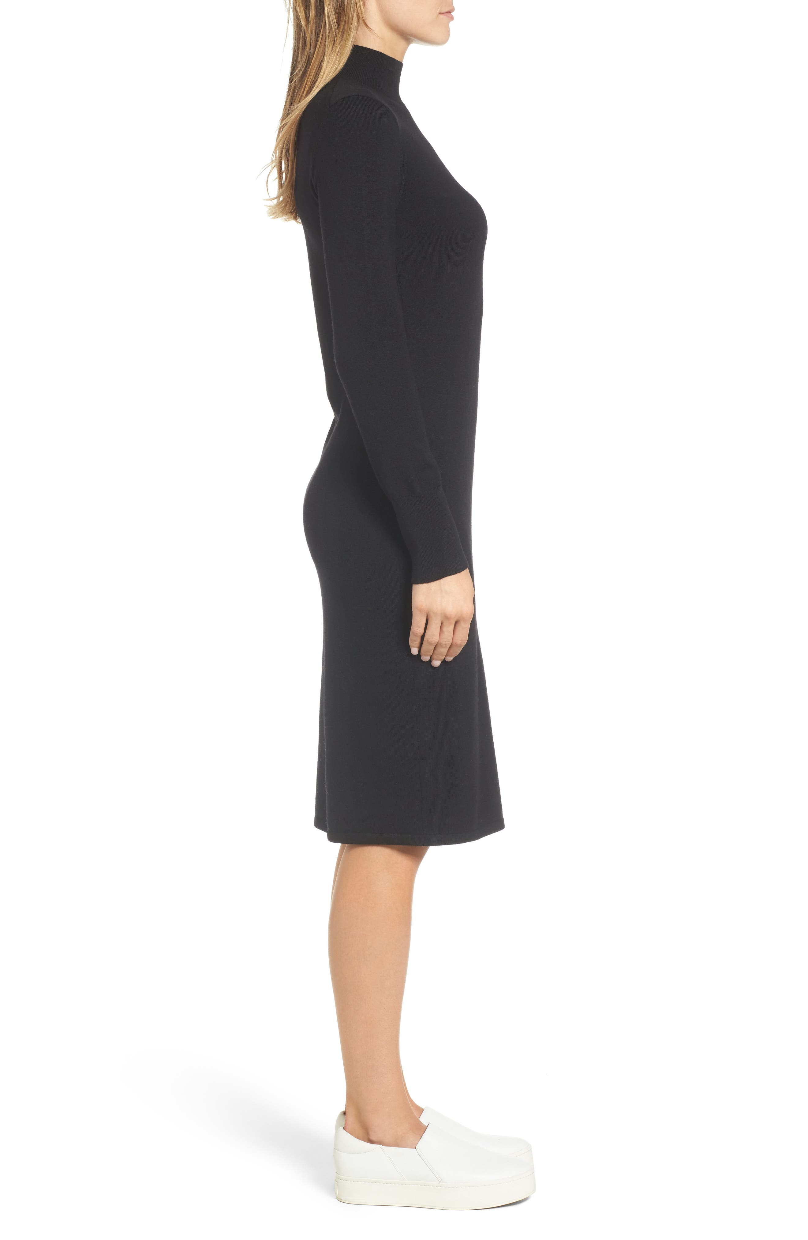 Italian Merino Wool Sweater Dress,                             Alternate thumbnail 3, color,                             001