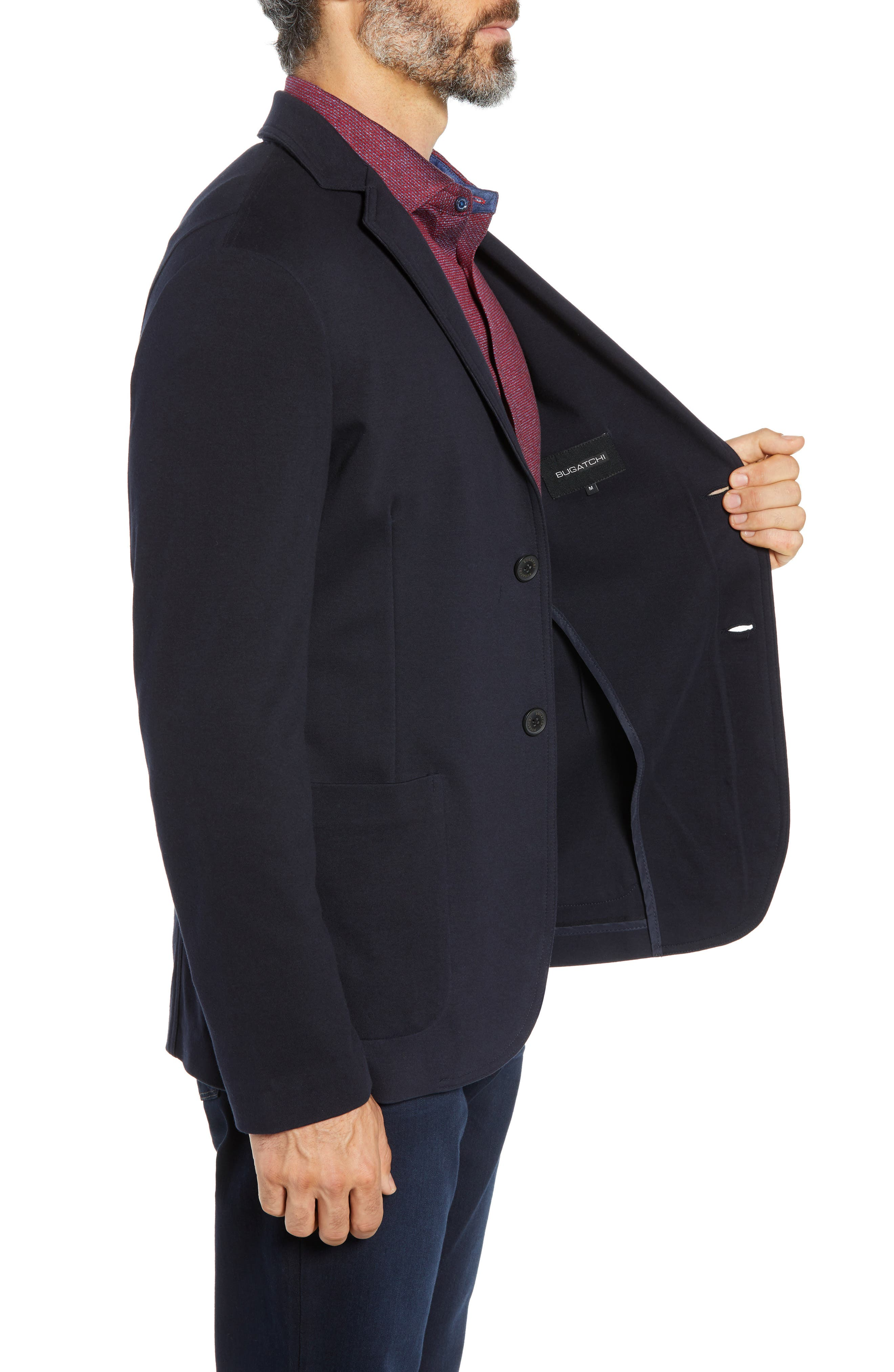 Regular Fit Stretch Cotton Blazer,                             Alternate thumbnail 3, color,                             NAVY