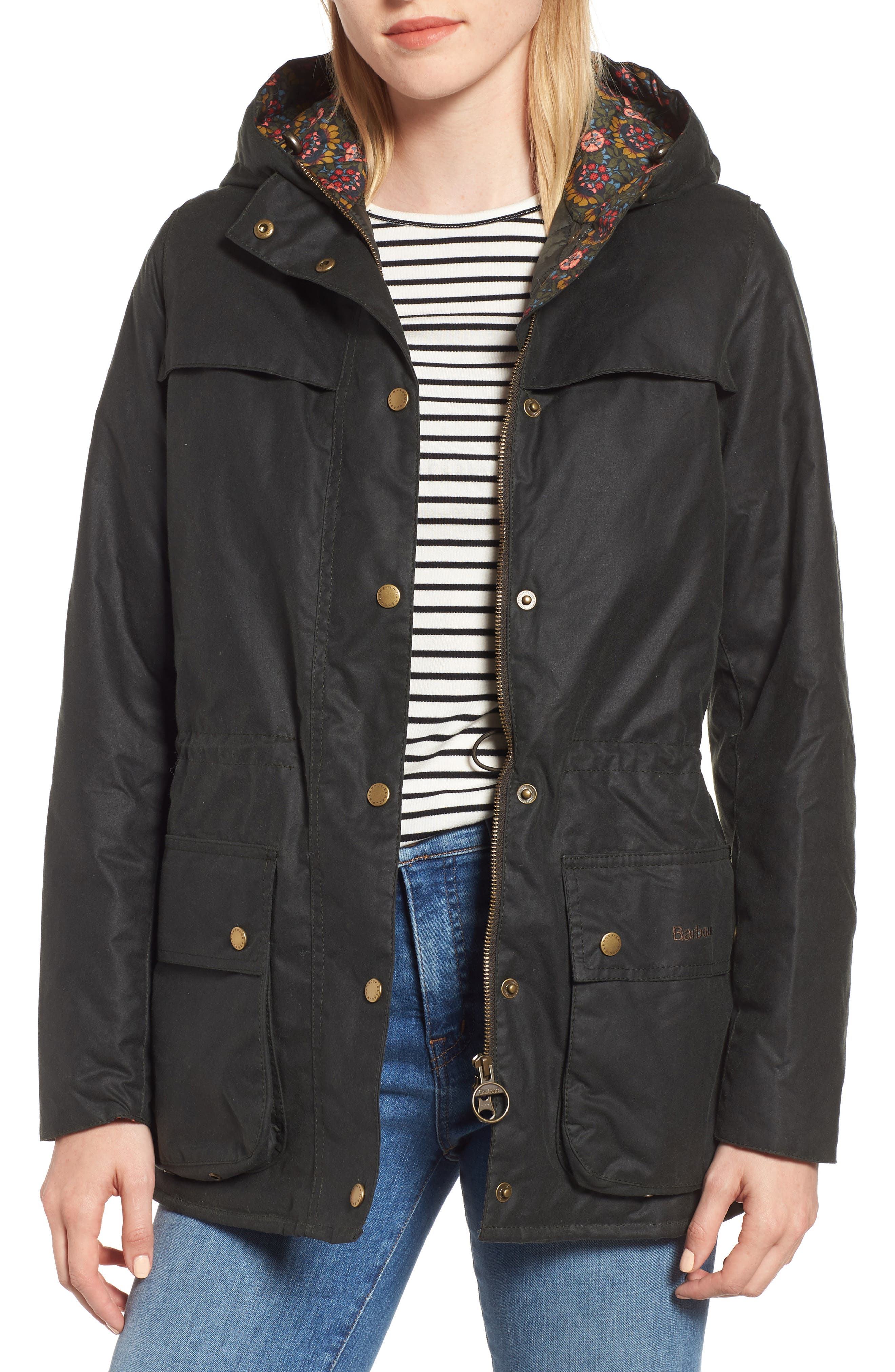 BARBOUR | Women's Barbour X Liberty Blaise Hooded Waxed Jacket, | Goxip