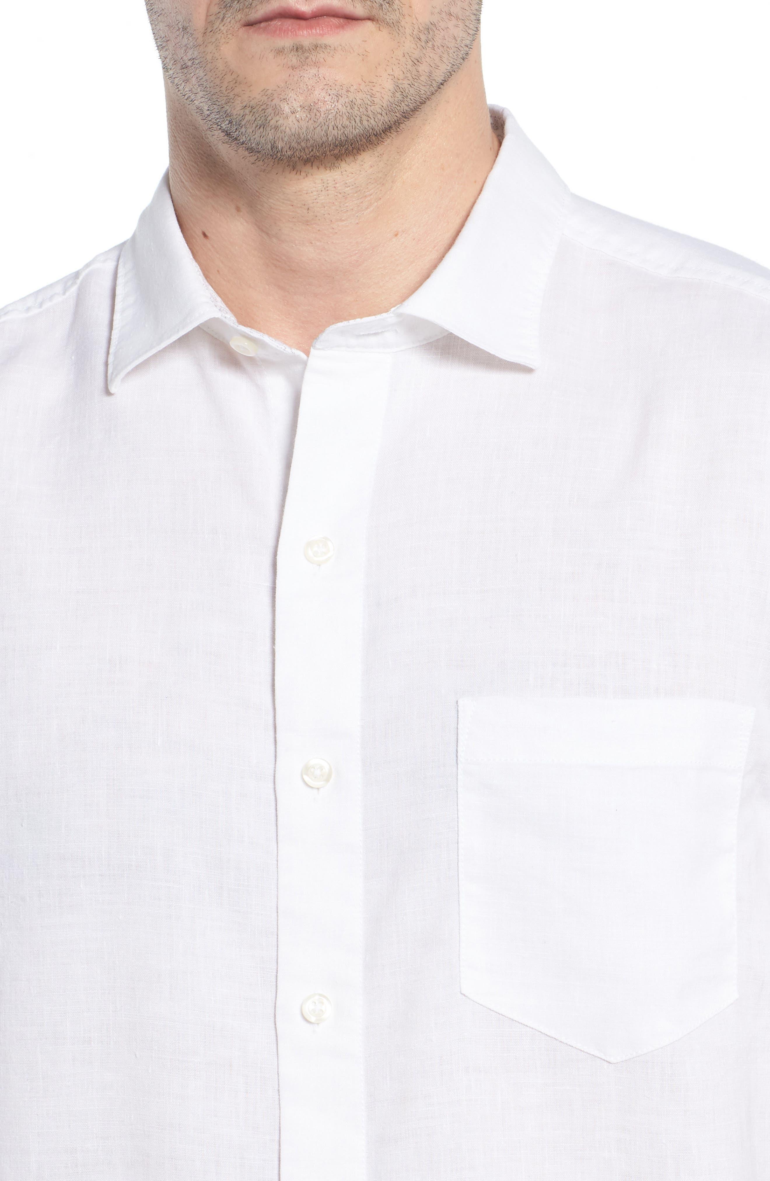 Lanai Tides Linen Blend Sport Shirt,                             Alternate thumbnail 4, color,                             100