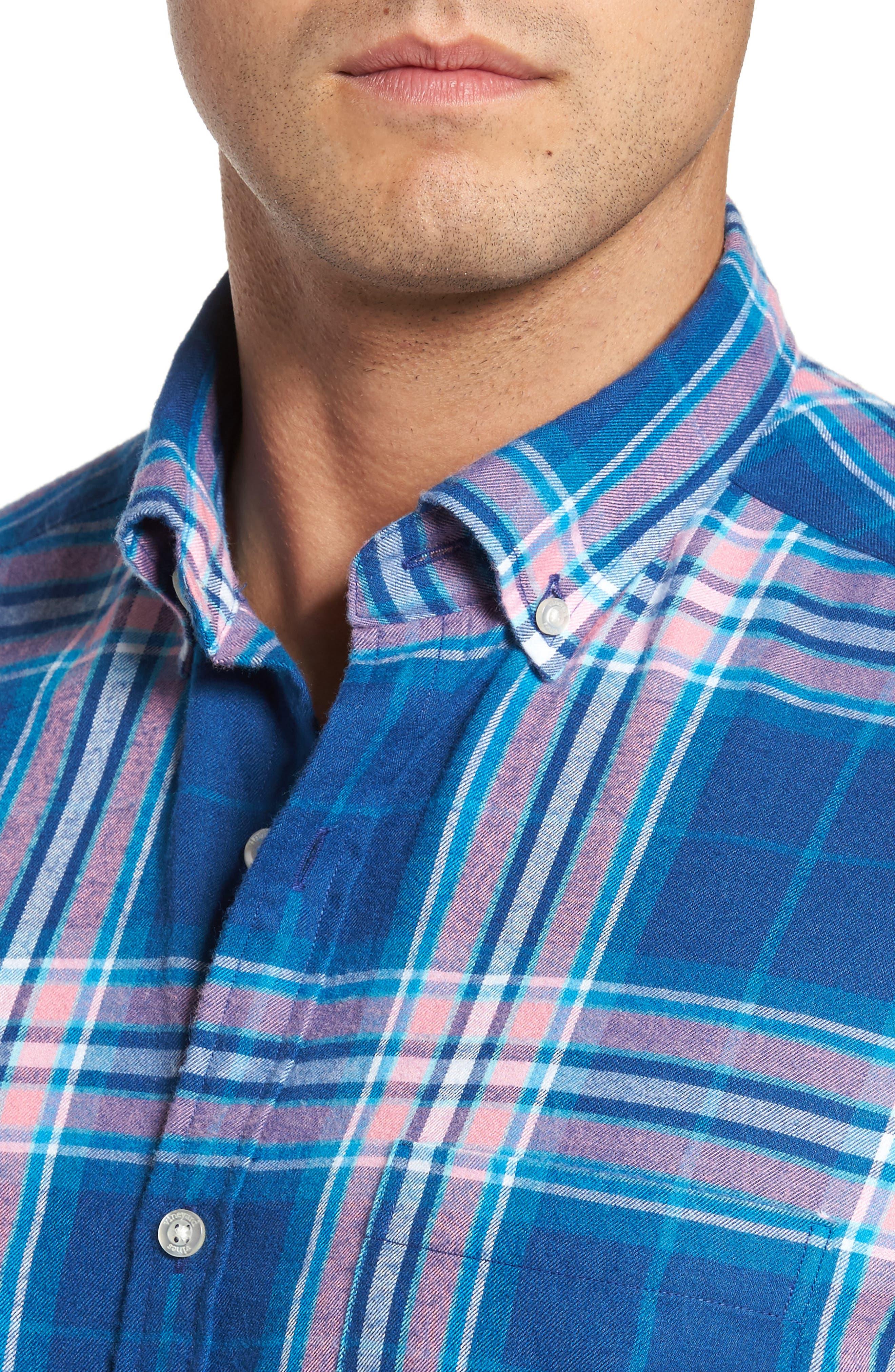 Murray Classic Fit Point Lobos Plaid Flannel Sport Shirt,                             Alternate thumbnail 4, color,