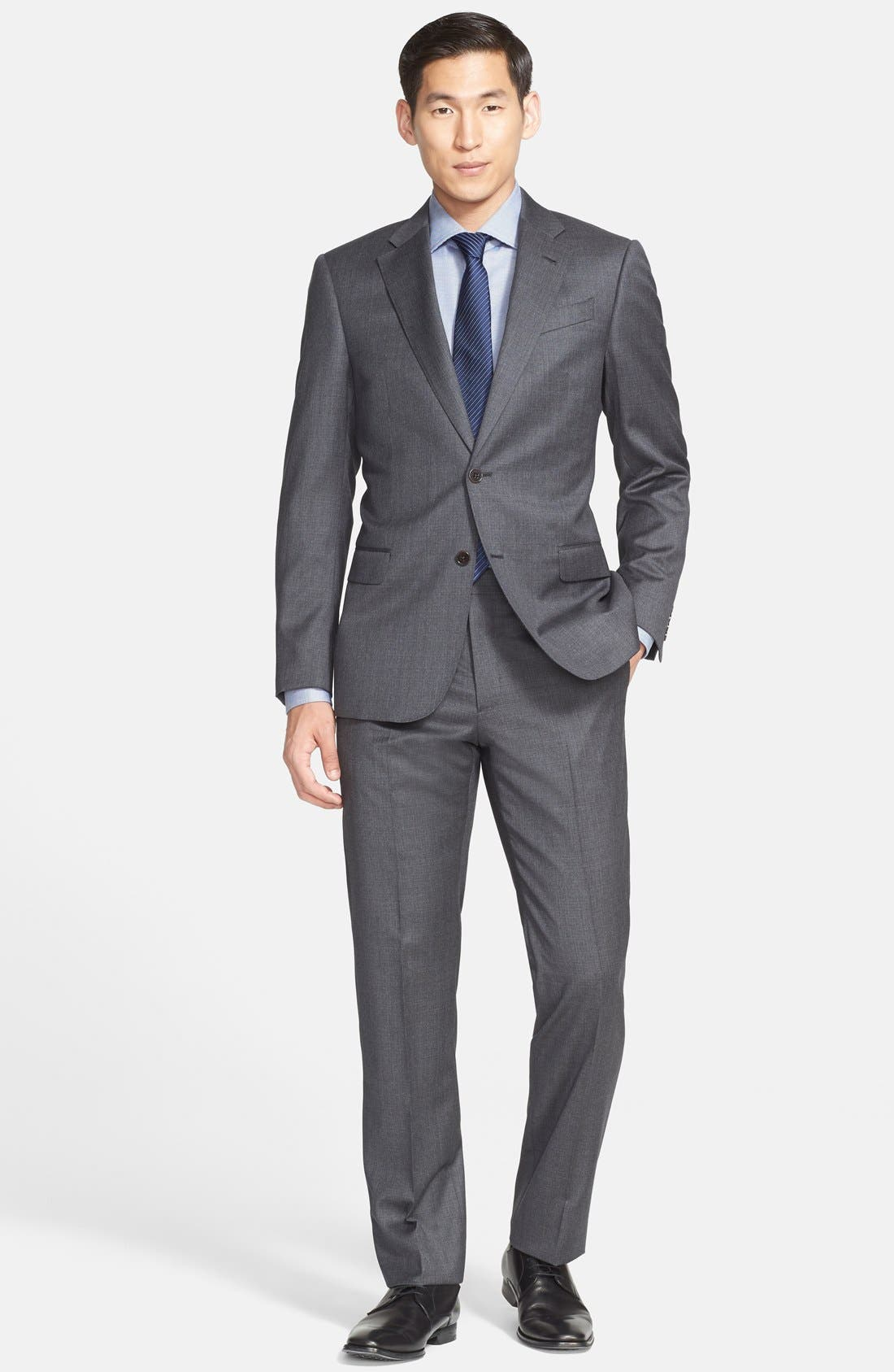 G-Line Trim Fit Solid Wool Suit,                             Main thumbnail 2, color,
