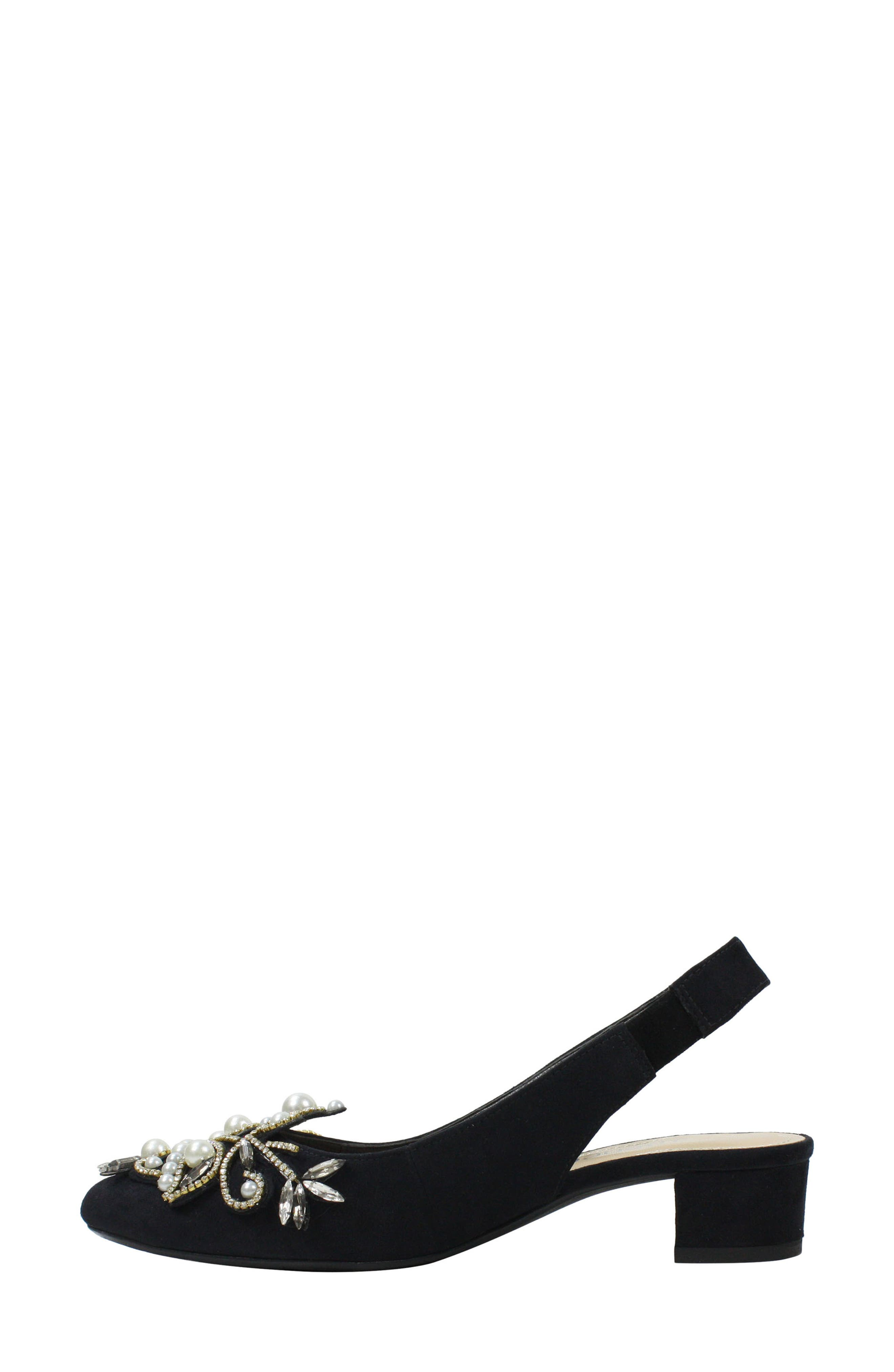 Delroy Embellished Slingback Pump,                             Alternate thumbnail 7, color,                             BLACK SUEDE/ WHITE PEARLS