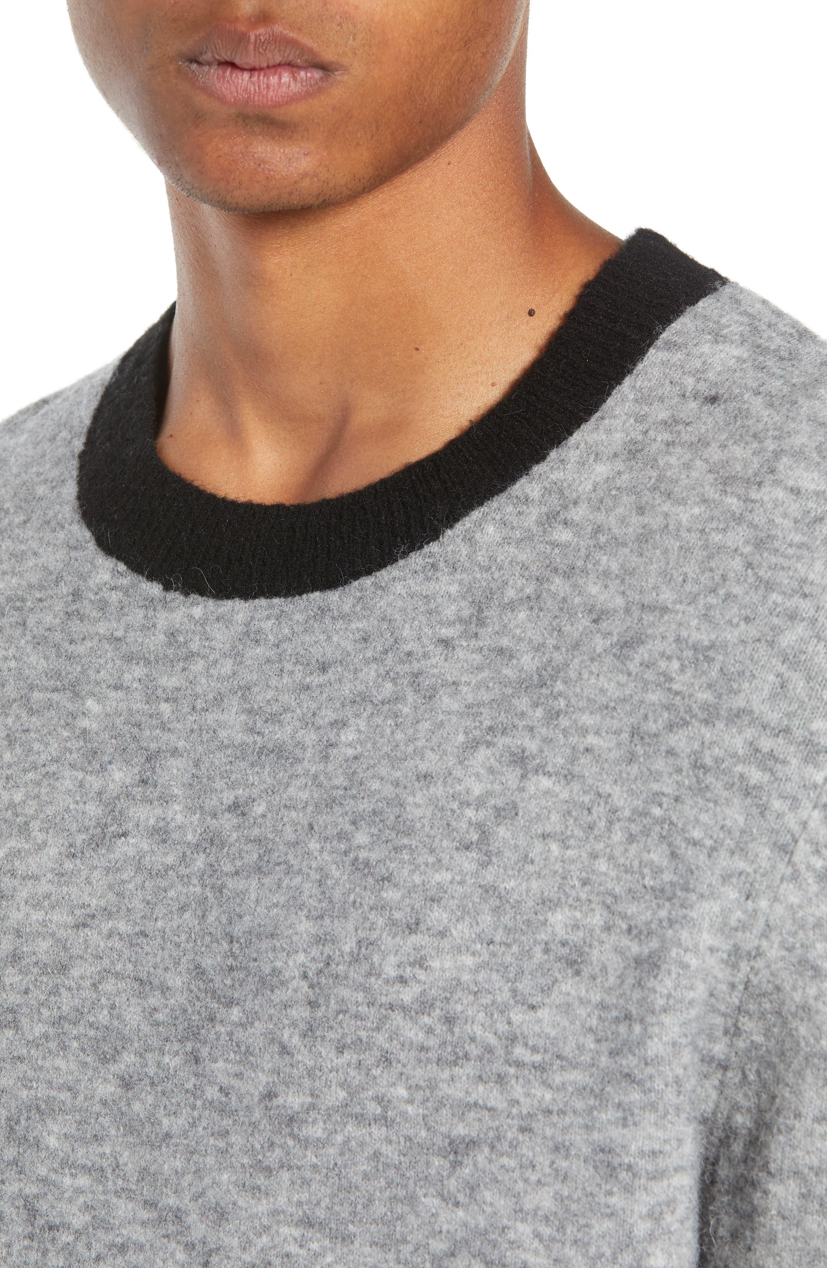 Clermont Slim Fit Crewneck Sweater,                             Alternate thumbnail 4, color,                             LIGHT HEATHER GREY
