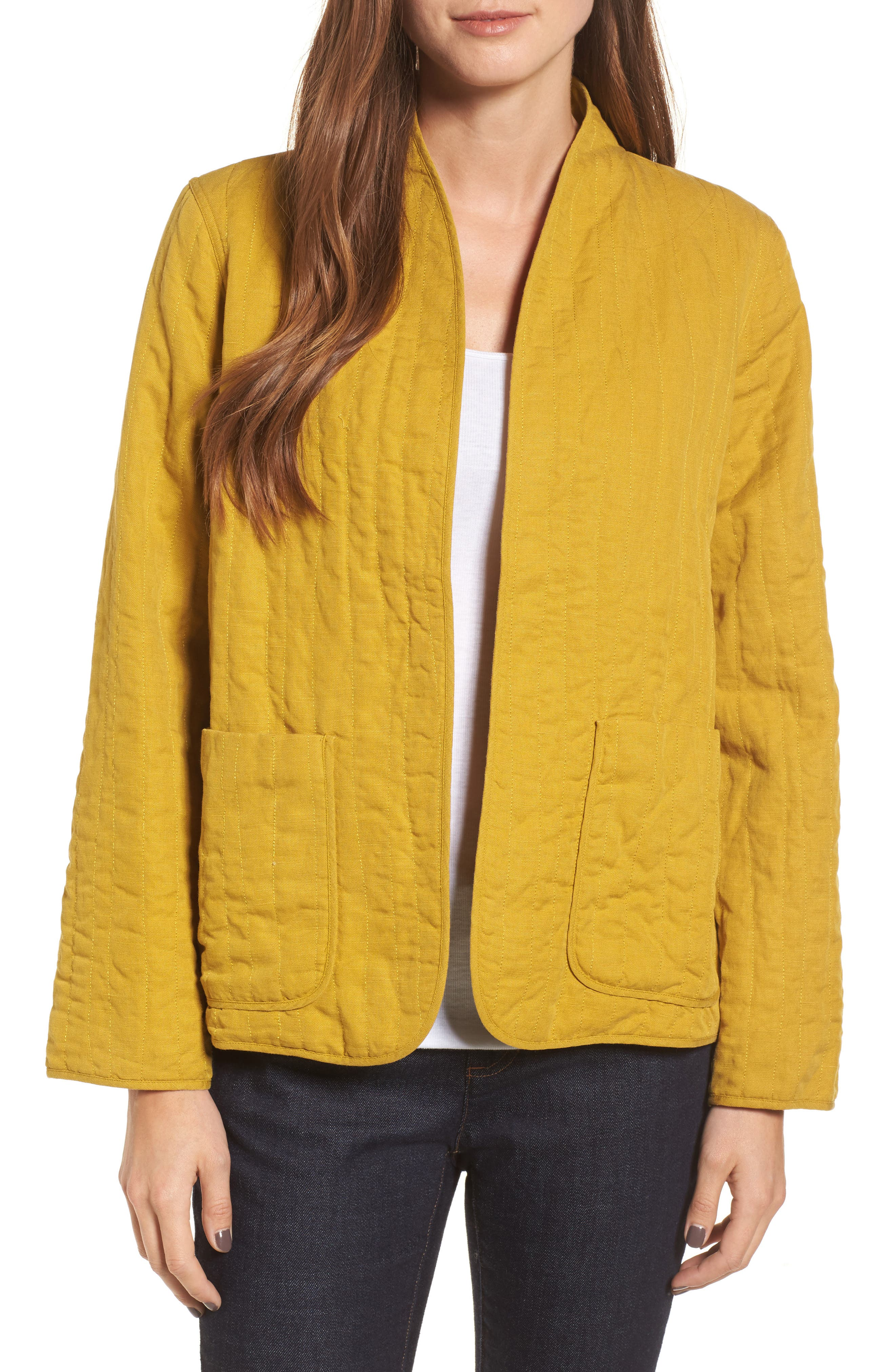 High Collar Quilted Jacket,                             Main thumbnail 3, color,