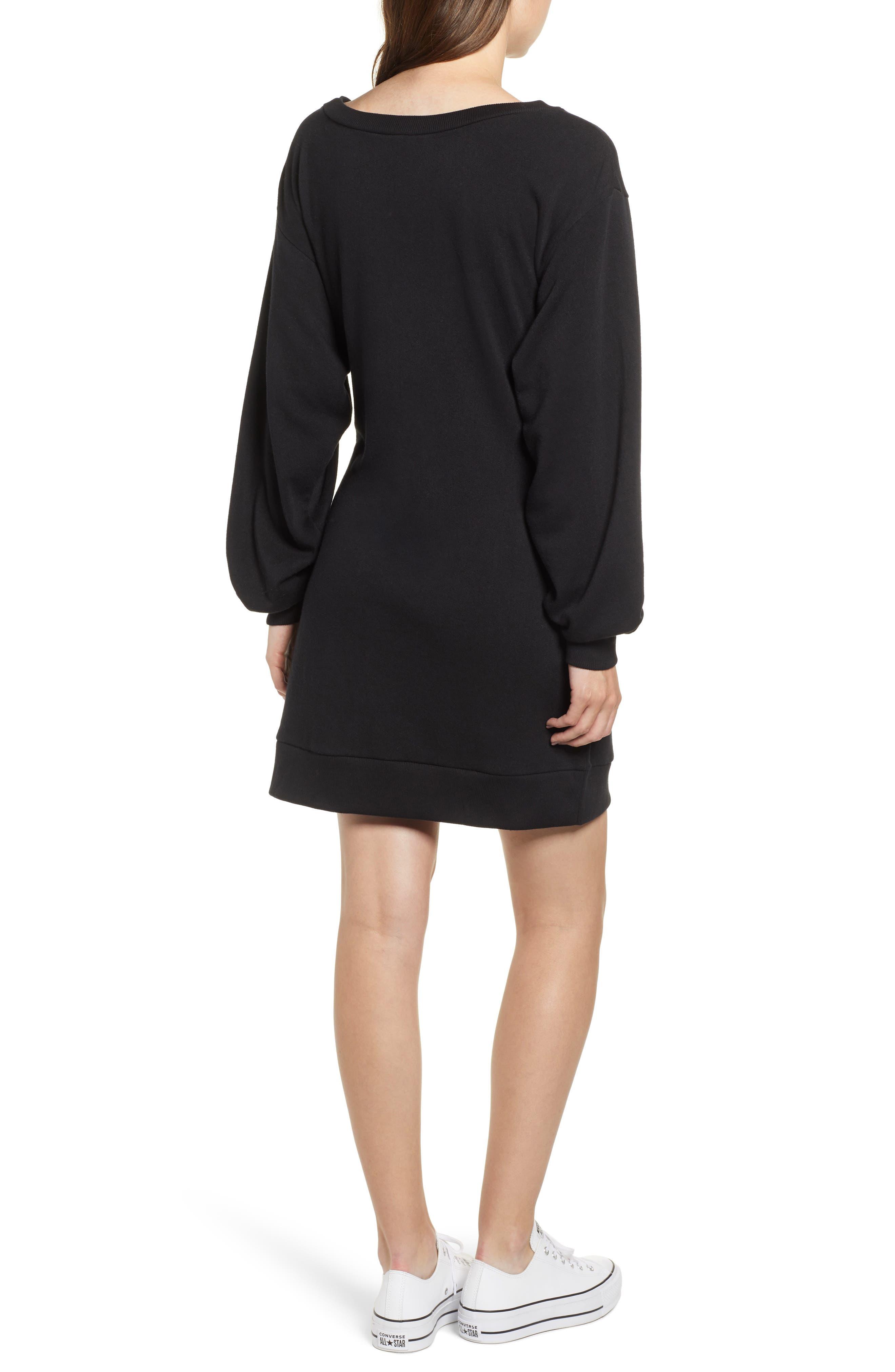 Belted Sweatshirt Dress,                             Alternate thumbnail 2, color,                             BLACK