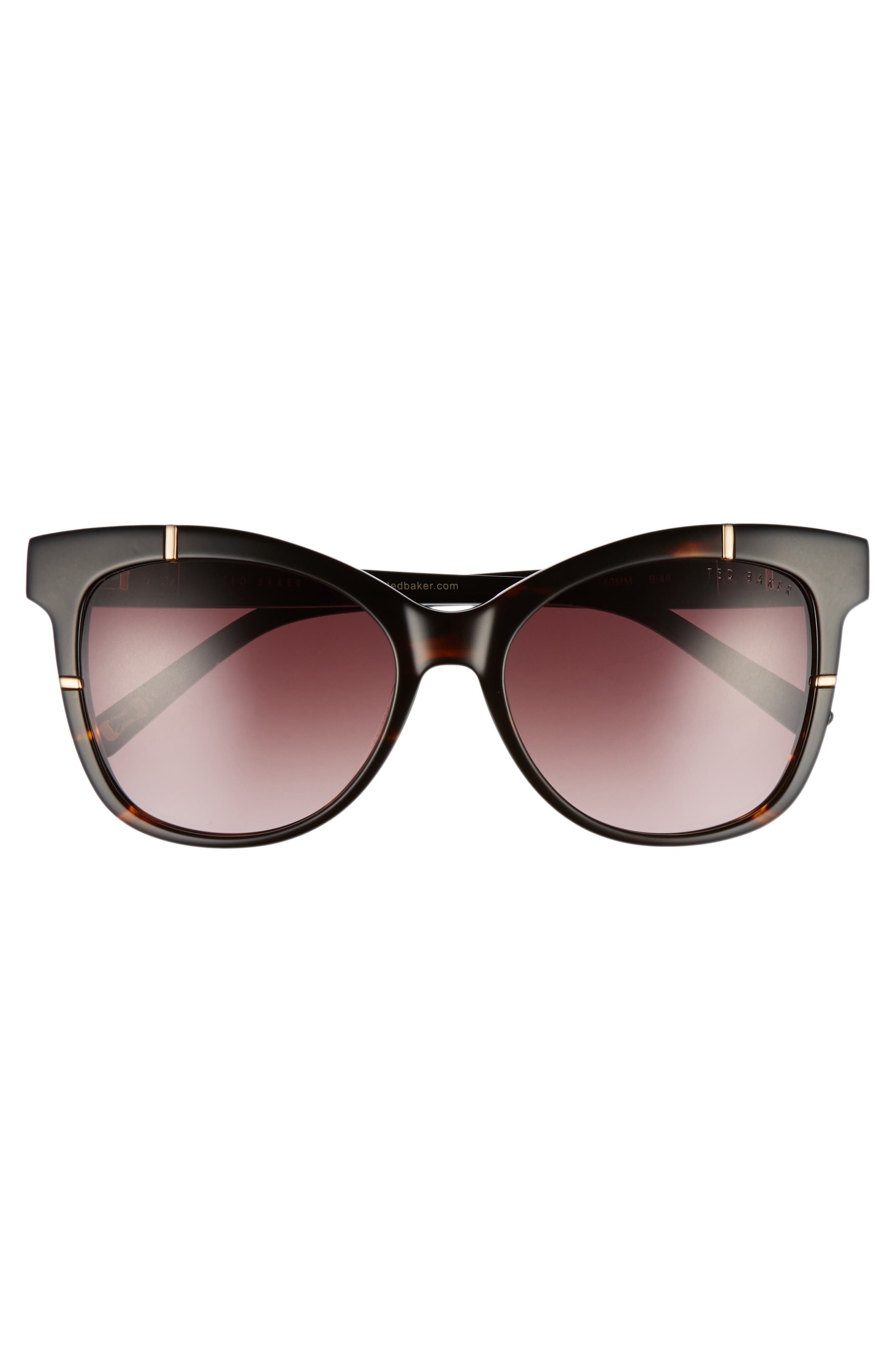 55mm Square Cat Eye Sunglasses,                             Alternate thumbnail 3, color,                             TORTOISE