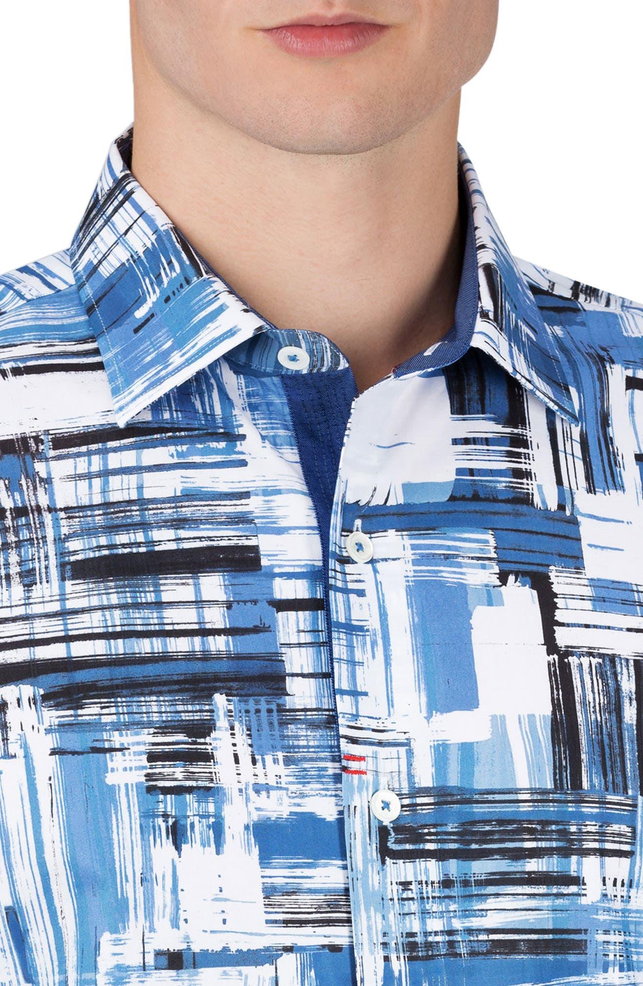 Shaped Fit Print Sport Shirt,                             Alternate thumbnail 3, color,                             420