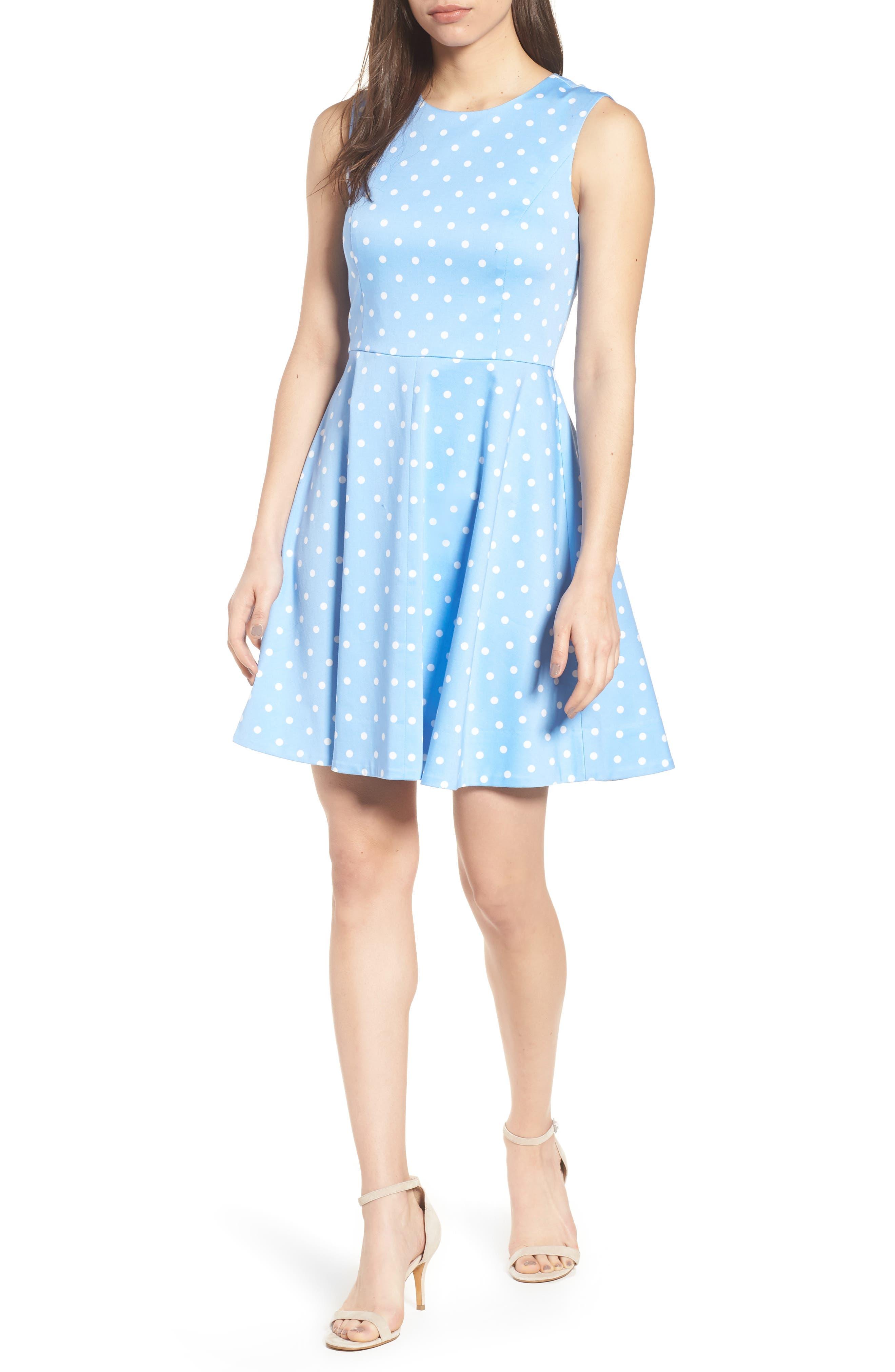 Dot Crew Love Circle Stretch Cotton Dress,                         Main,                         color, 452