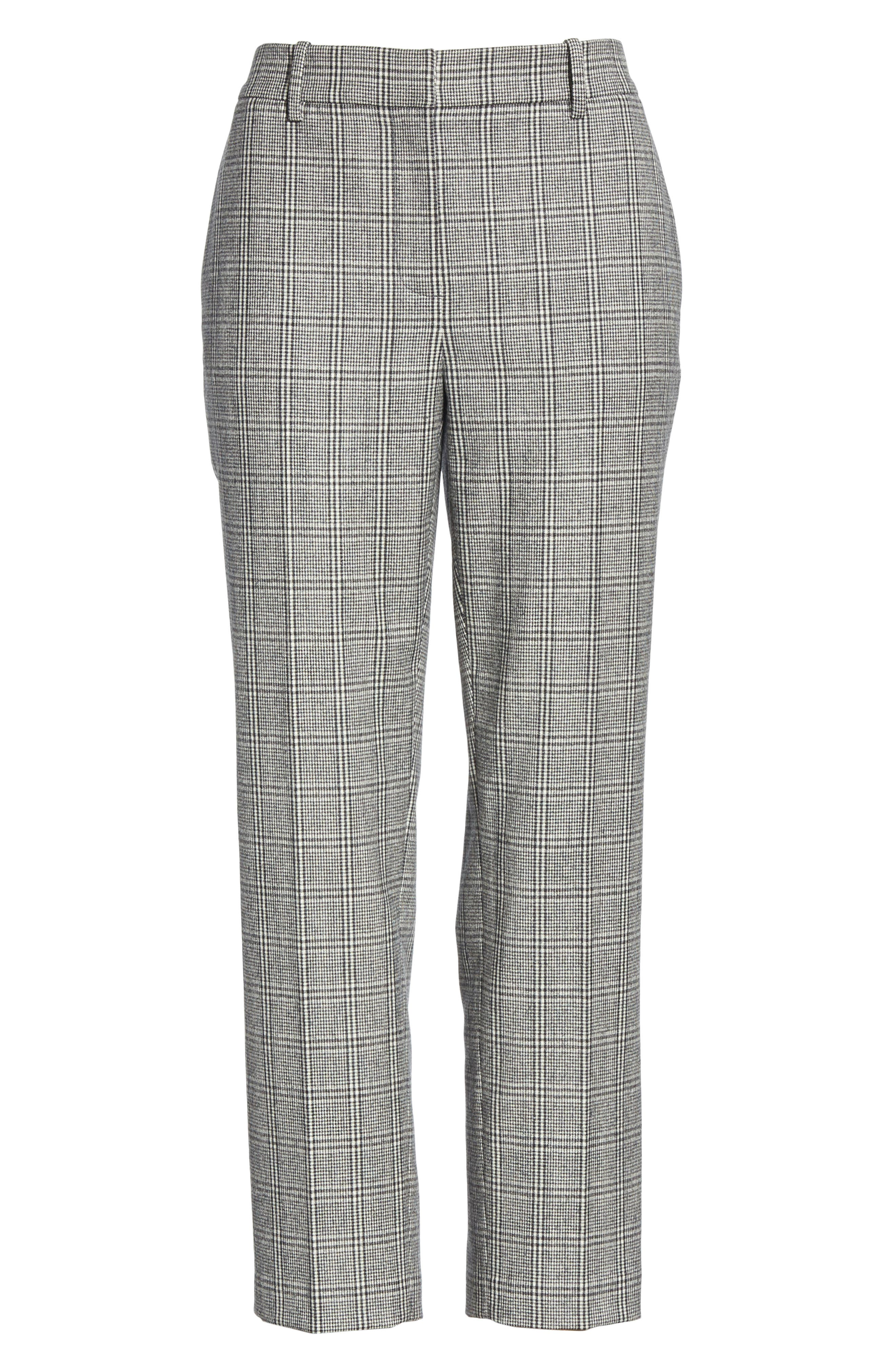 Check Crop Pants,                             Alternate thumbnail 6, color,                             BLACK- WHITE ELODIE CHECK