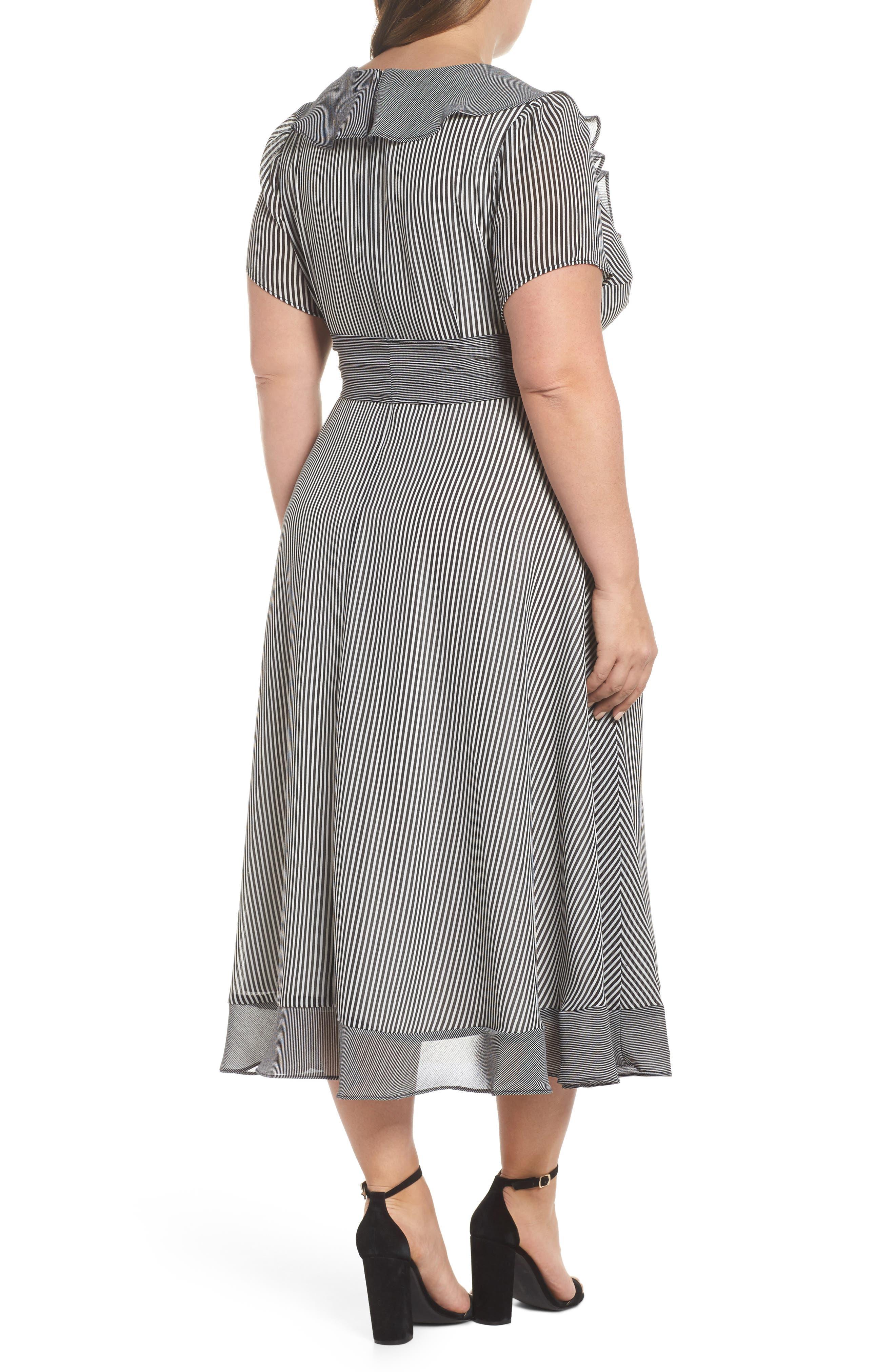 Ruffle Stripe Faux Wrap Midi Dress,                             Alternate thumbnail 2, color,