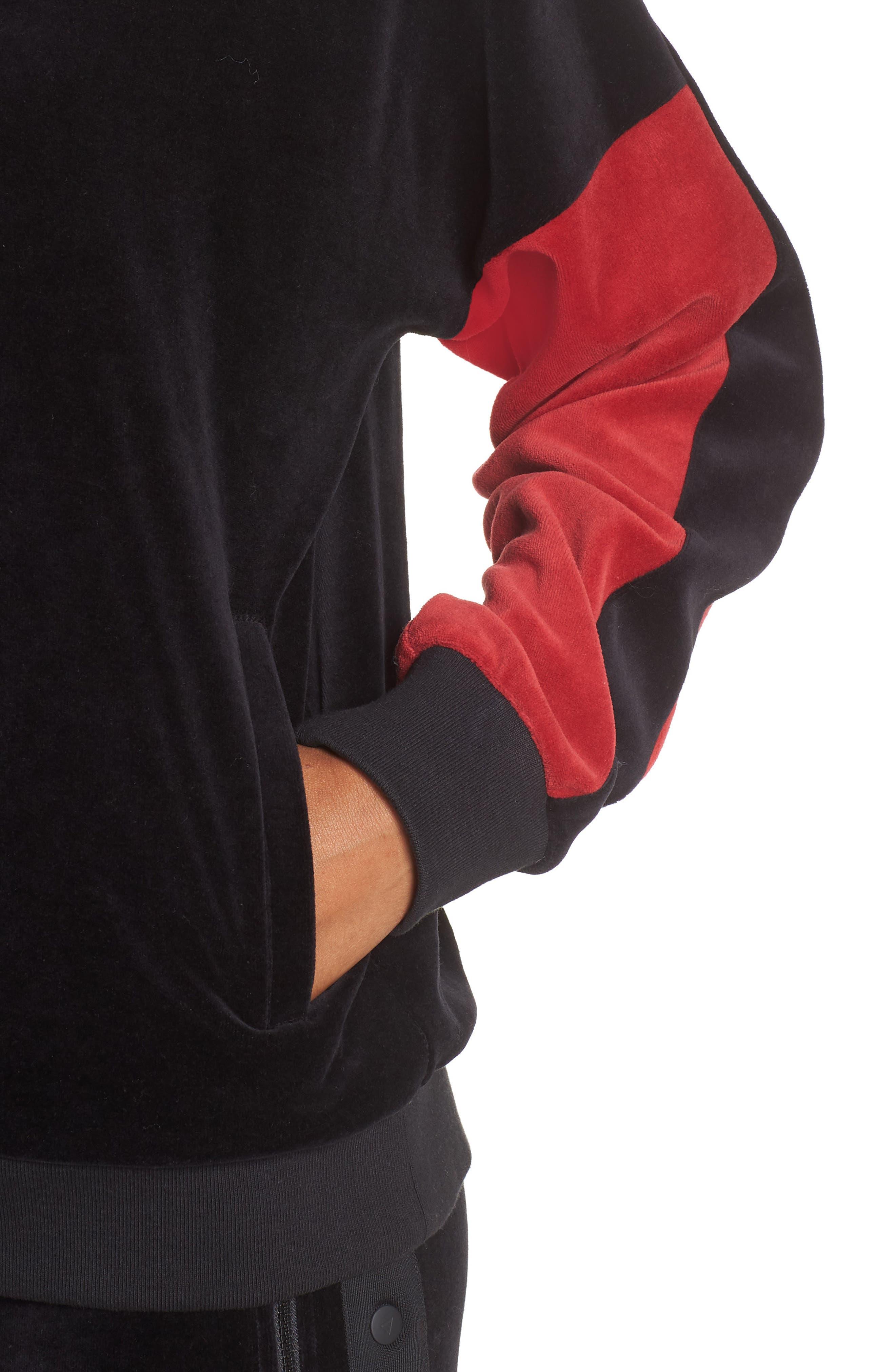 Velour Crewneck Sweater,                             Alternate thumbnail 4, color,                             BLACK/ CRIMSON