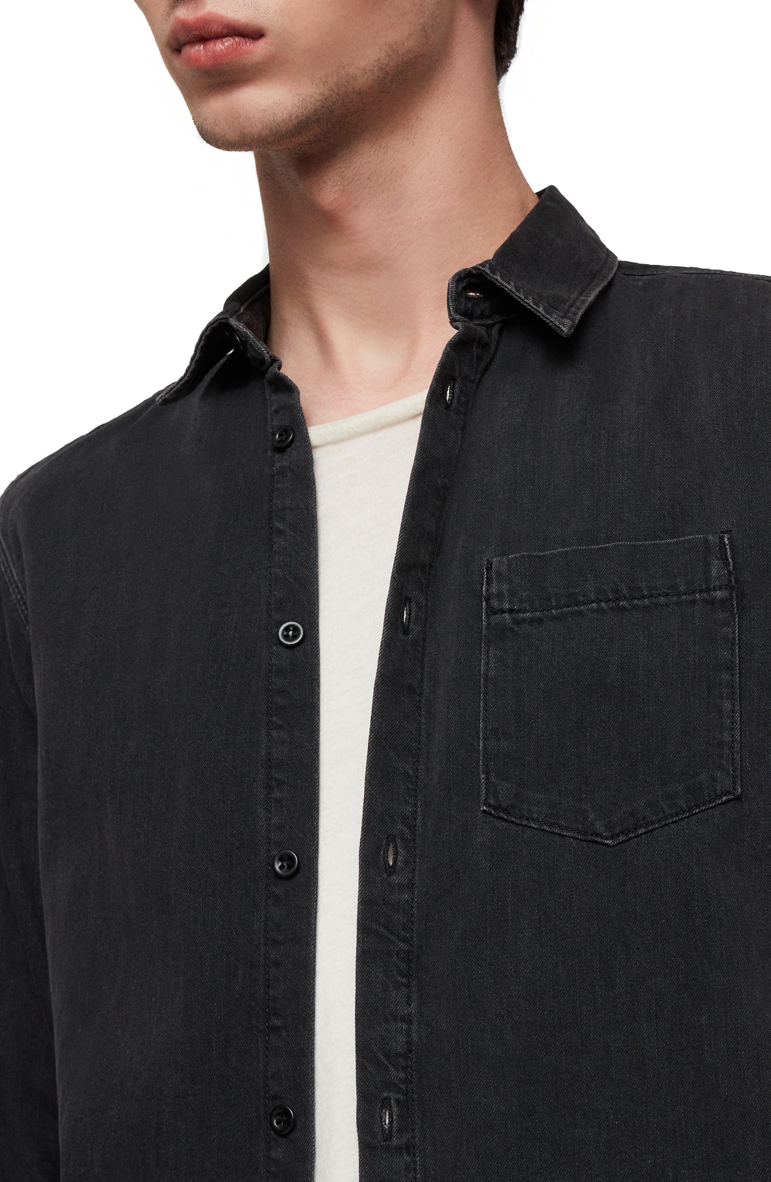 Brenner Denim Slim Fit Sport Shirt,                             Alternate thumbnail 2, color,                             BLACK