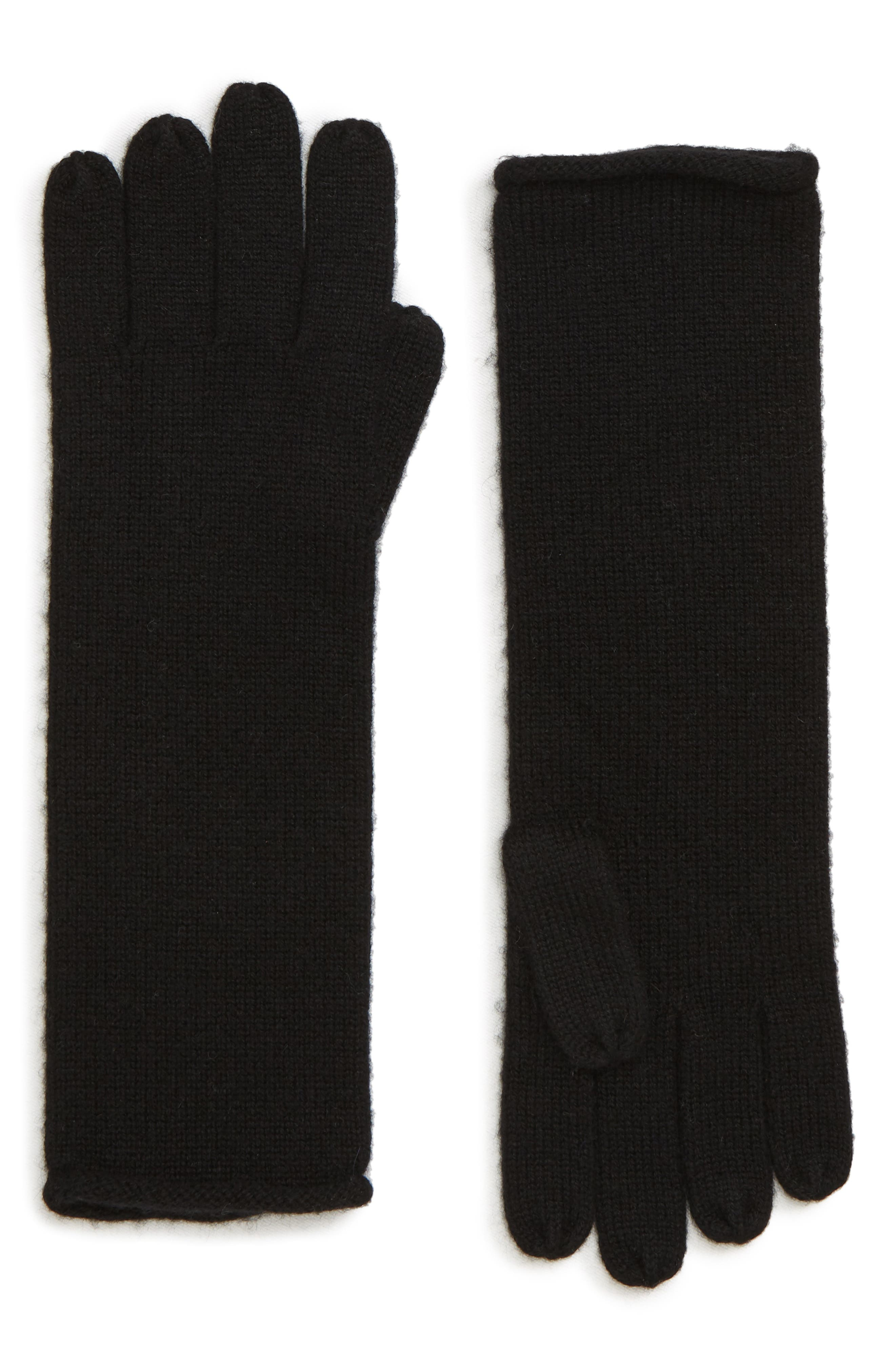 Rolled Edge Gloves,                             Main thumbnail 1, color,                             BLACK