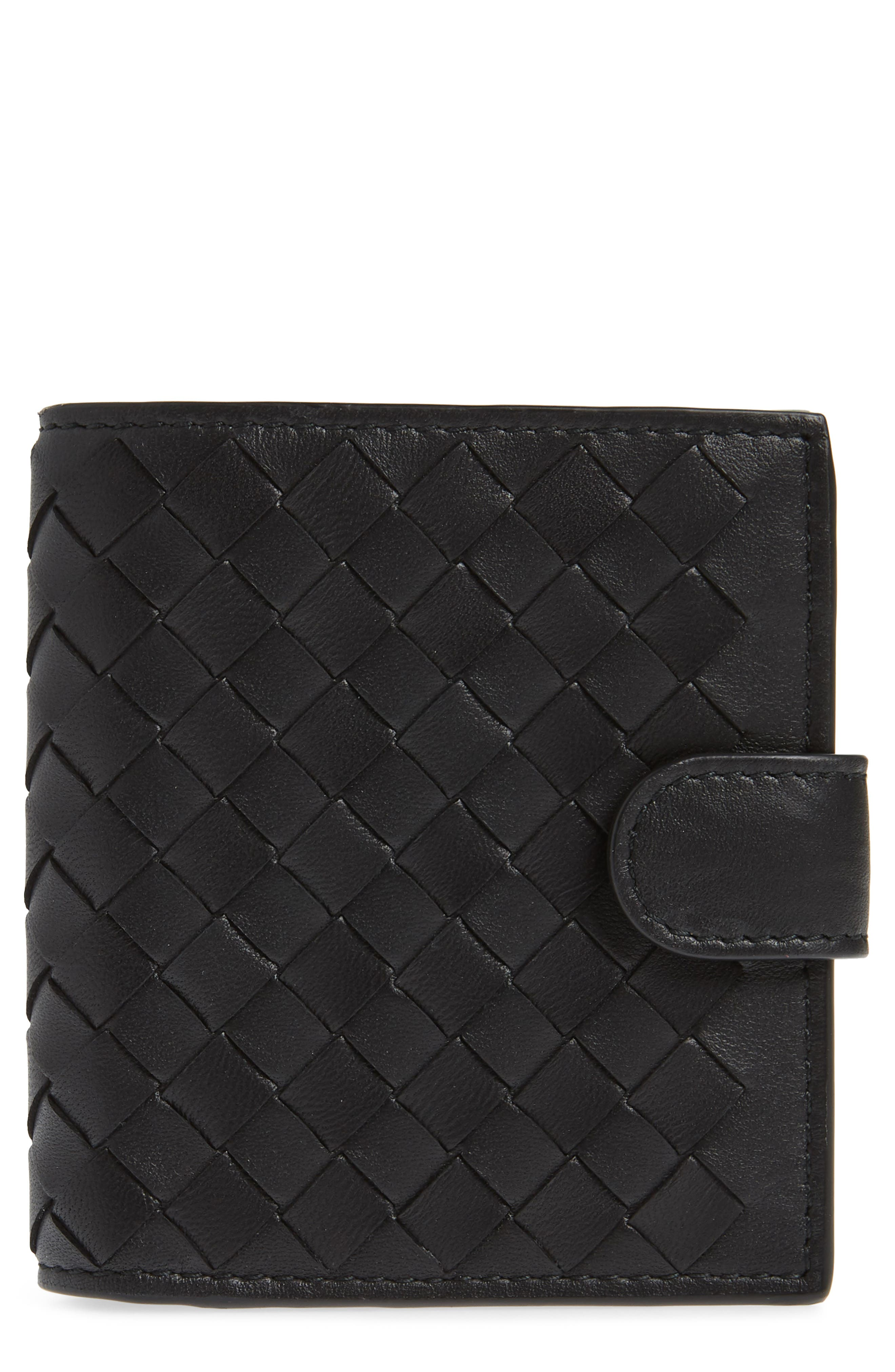 Intrecciato Leather French Wallet,                         Main,                         color, BLACK