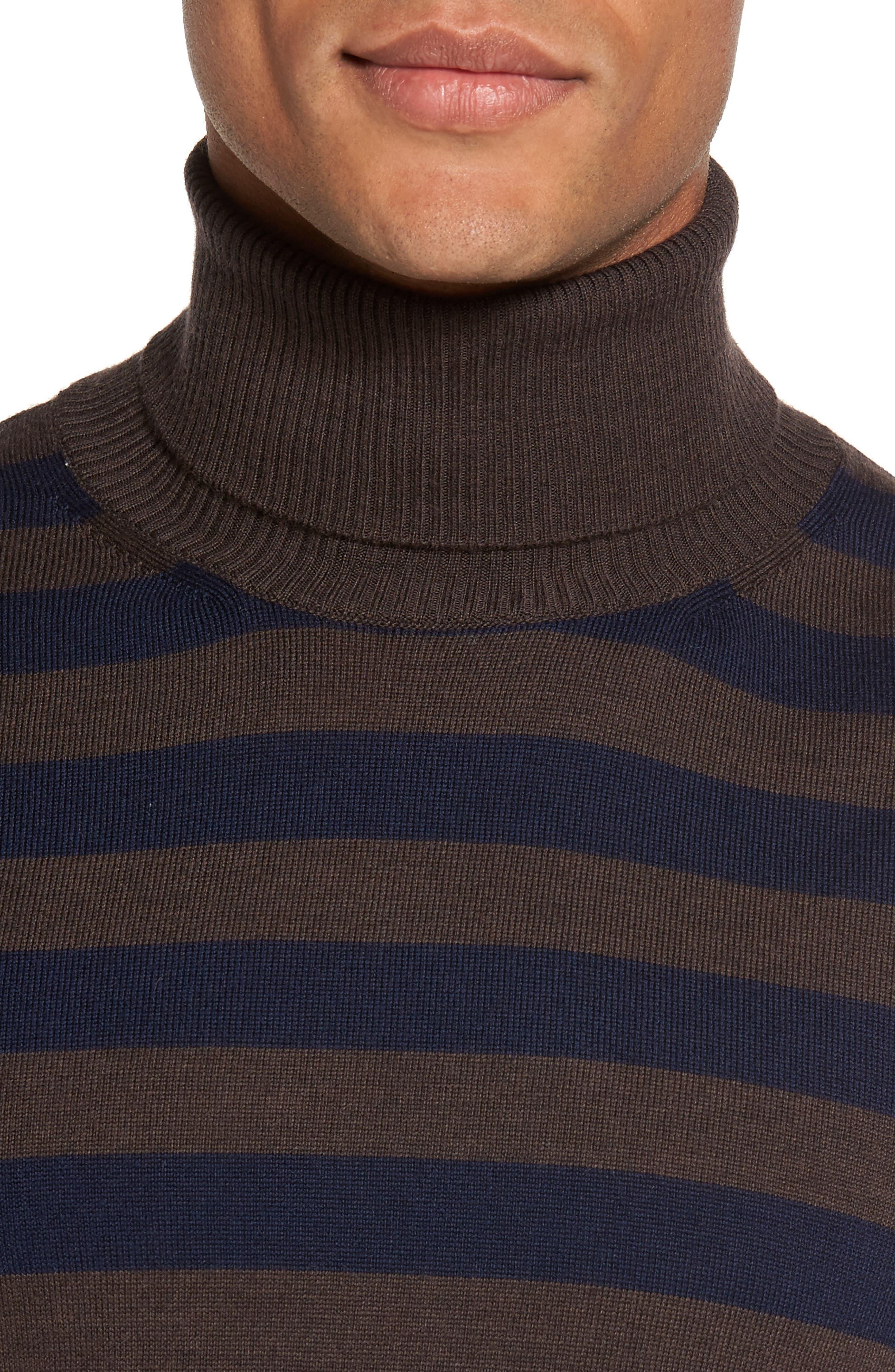 Striped Turtleneck Sweater,                             Alternate thumbnail 4, color,                             204