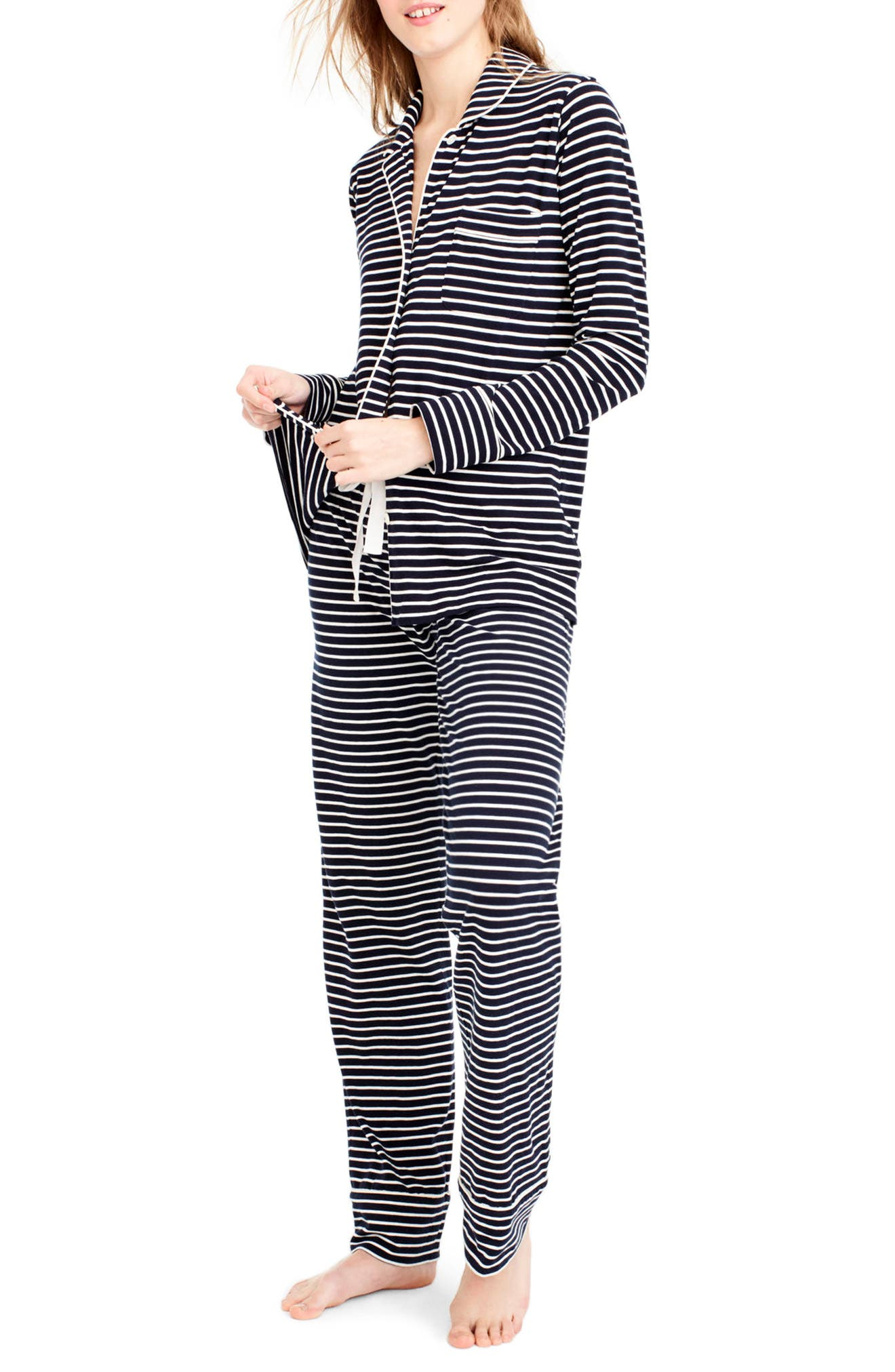 Dreamy Stripe Cotton Pajamas,                             Main thumbnail 1, color,                             NAVY IVORY