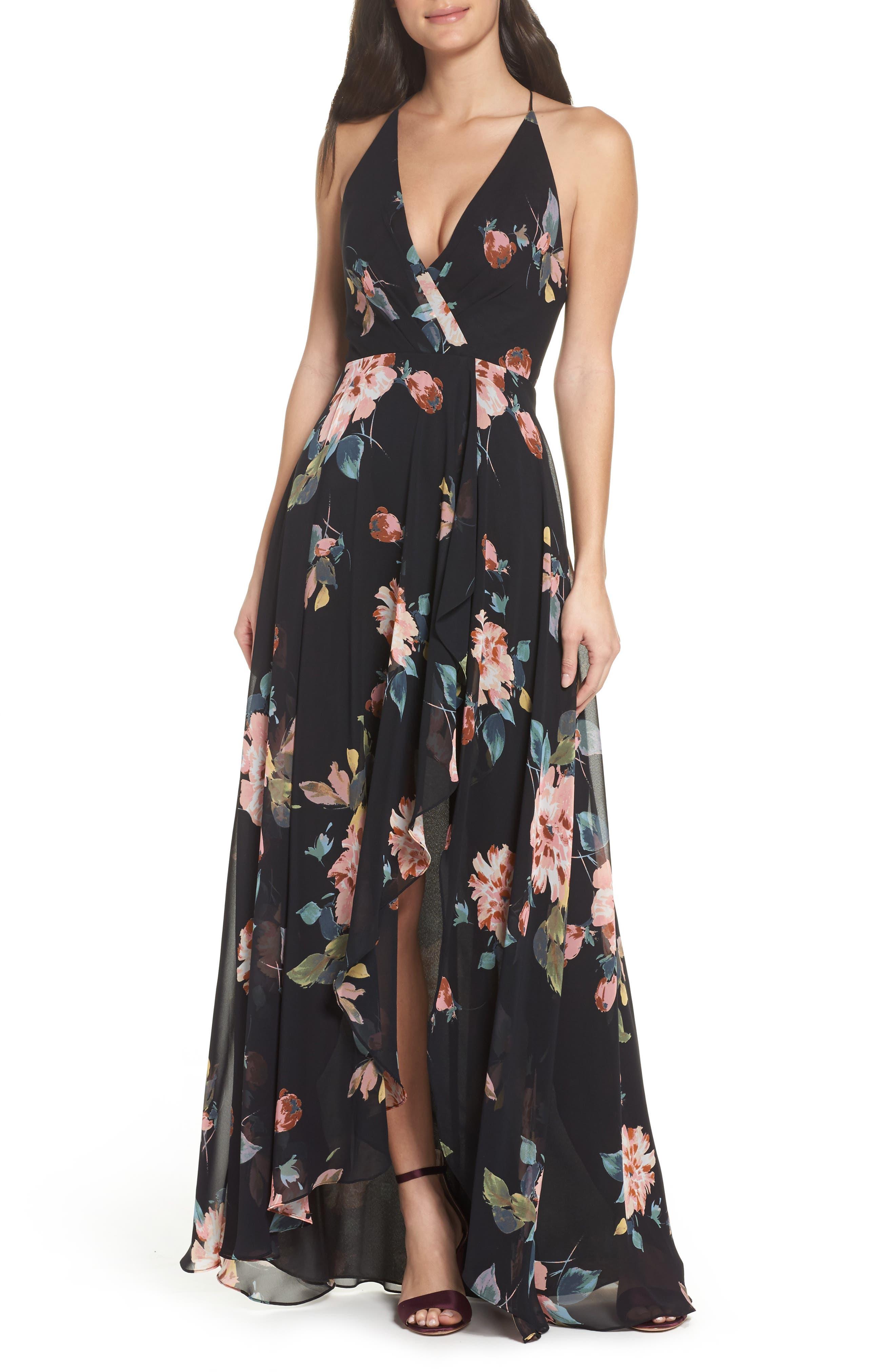 JENNY YOO Farrah Halter Gown in Black Multi