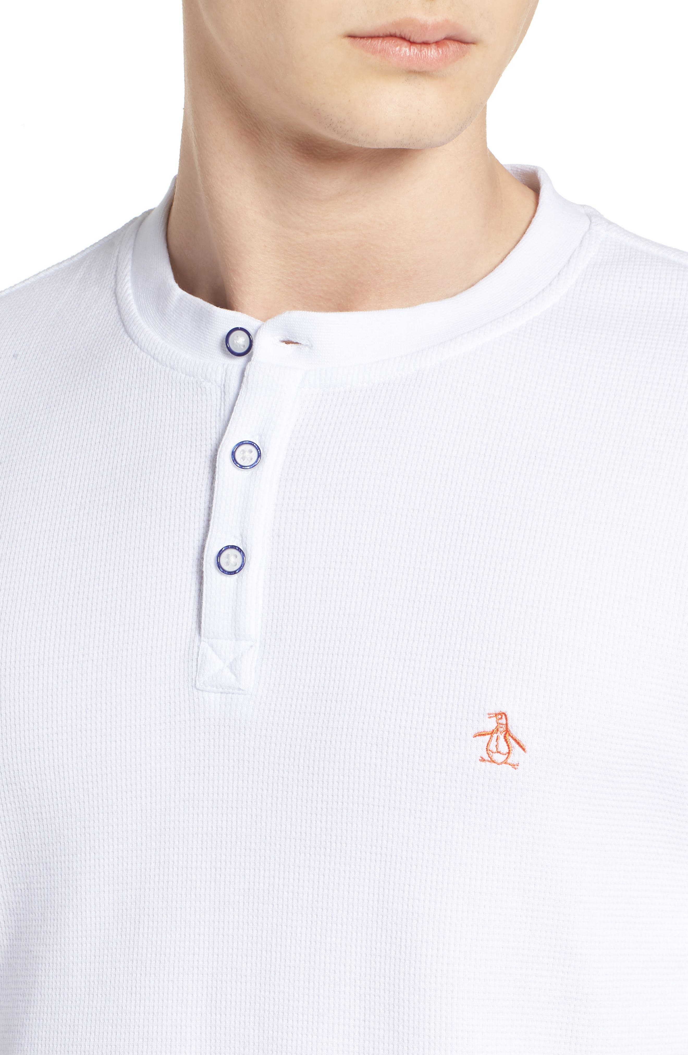 Waffle Knit Henley,                             Alternate thumbnail 4, color,                             BRIGHT WHITE