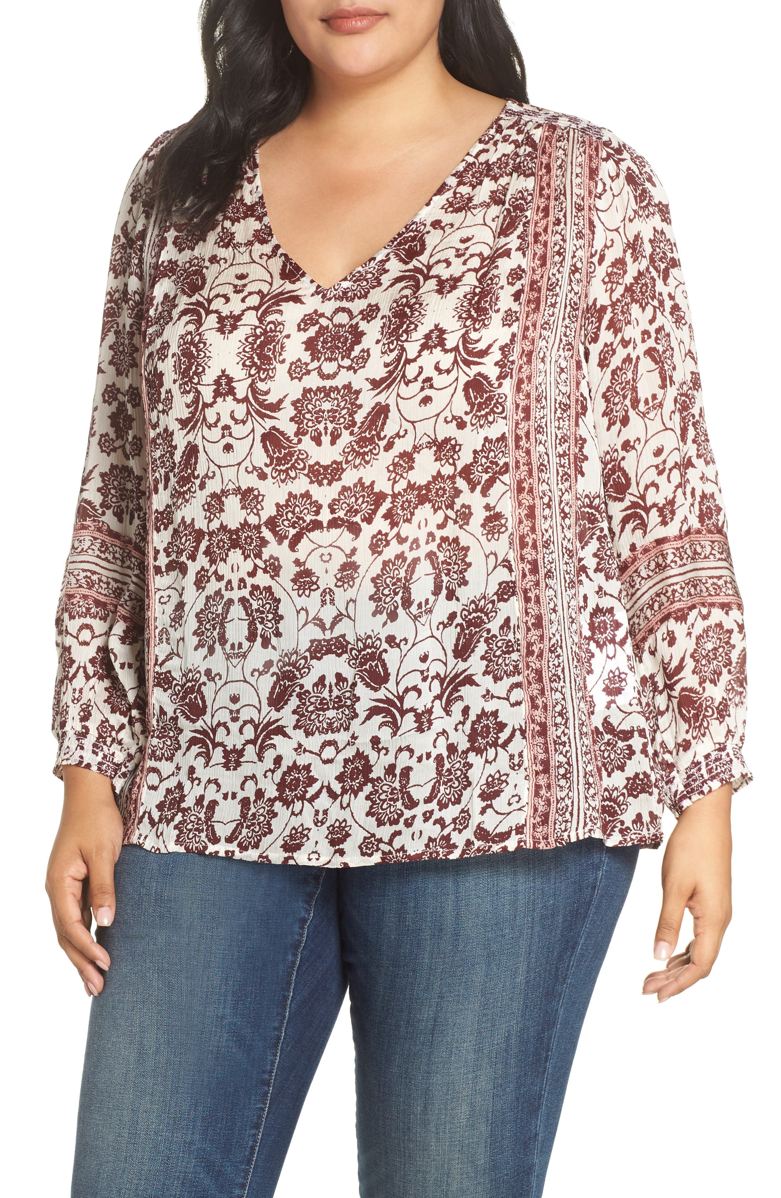 plus size women's lucky brand border print peasant blouse