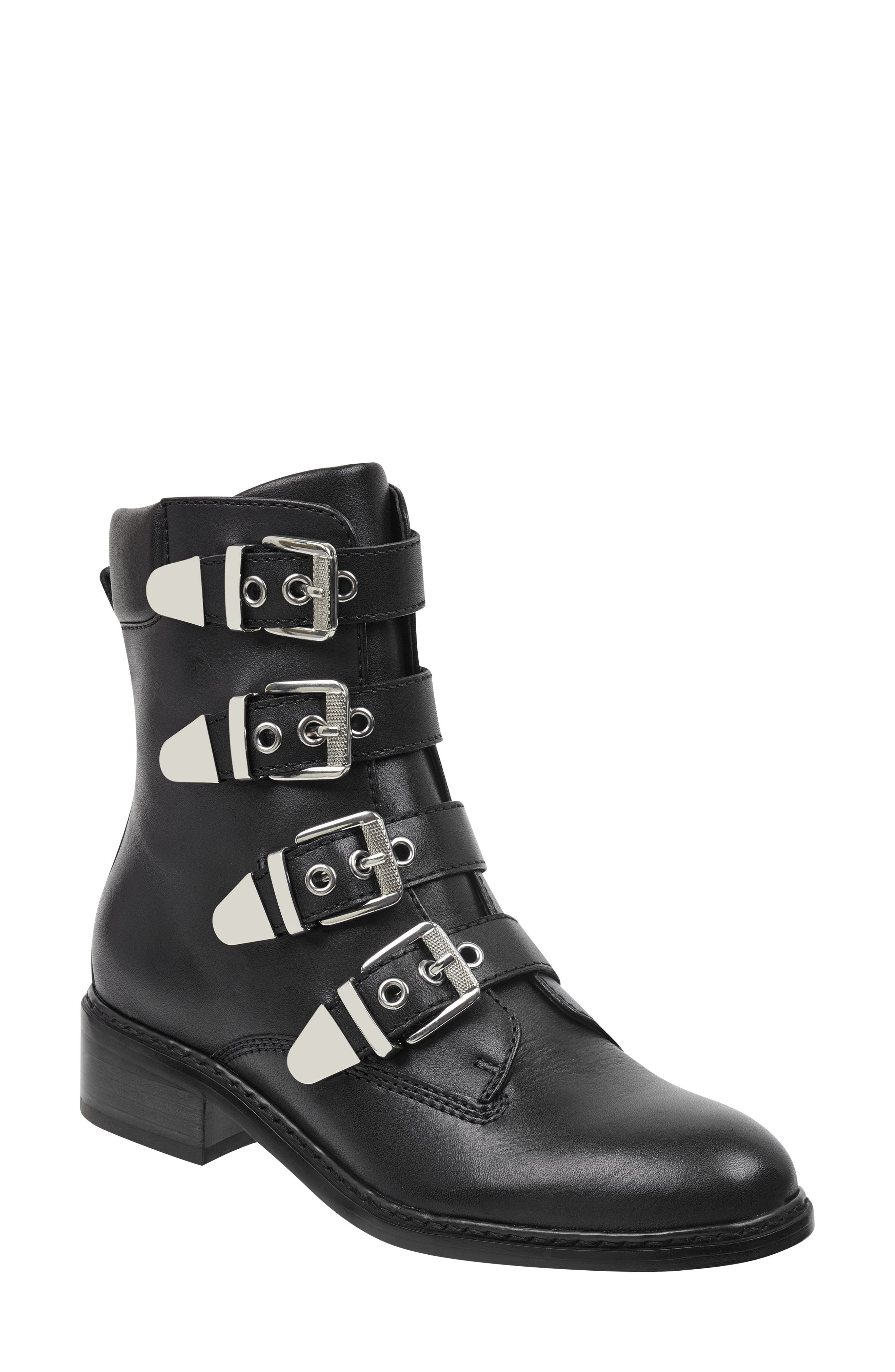 Buckle Boot,                         Main,                         color, BLACK LEATHER