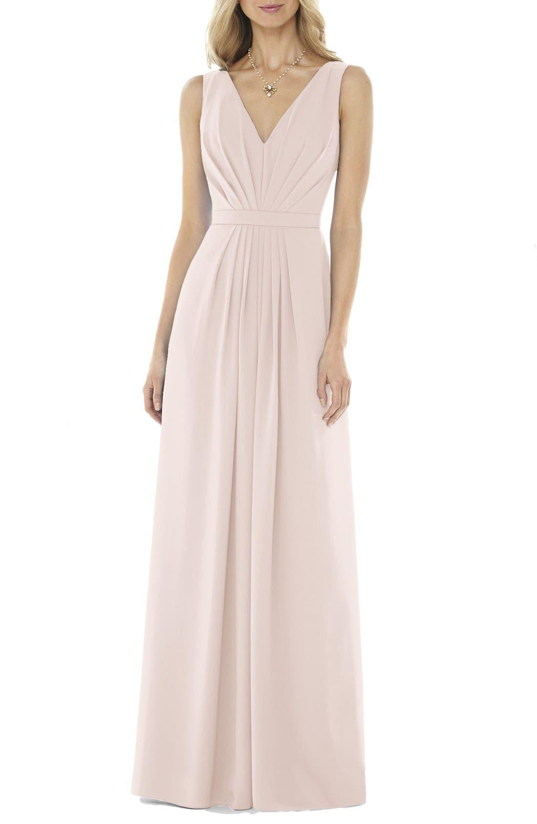 Social Bridesmaids V-Neck Georgette Gown, Pink